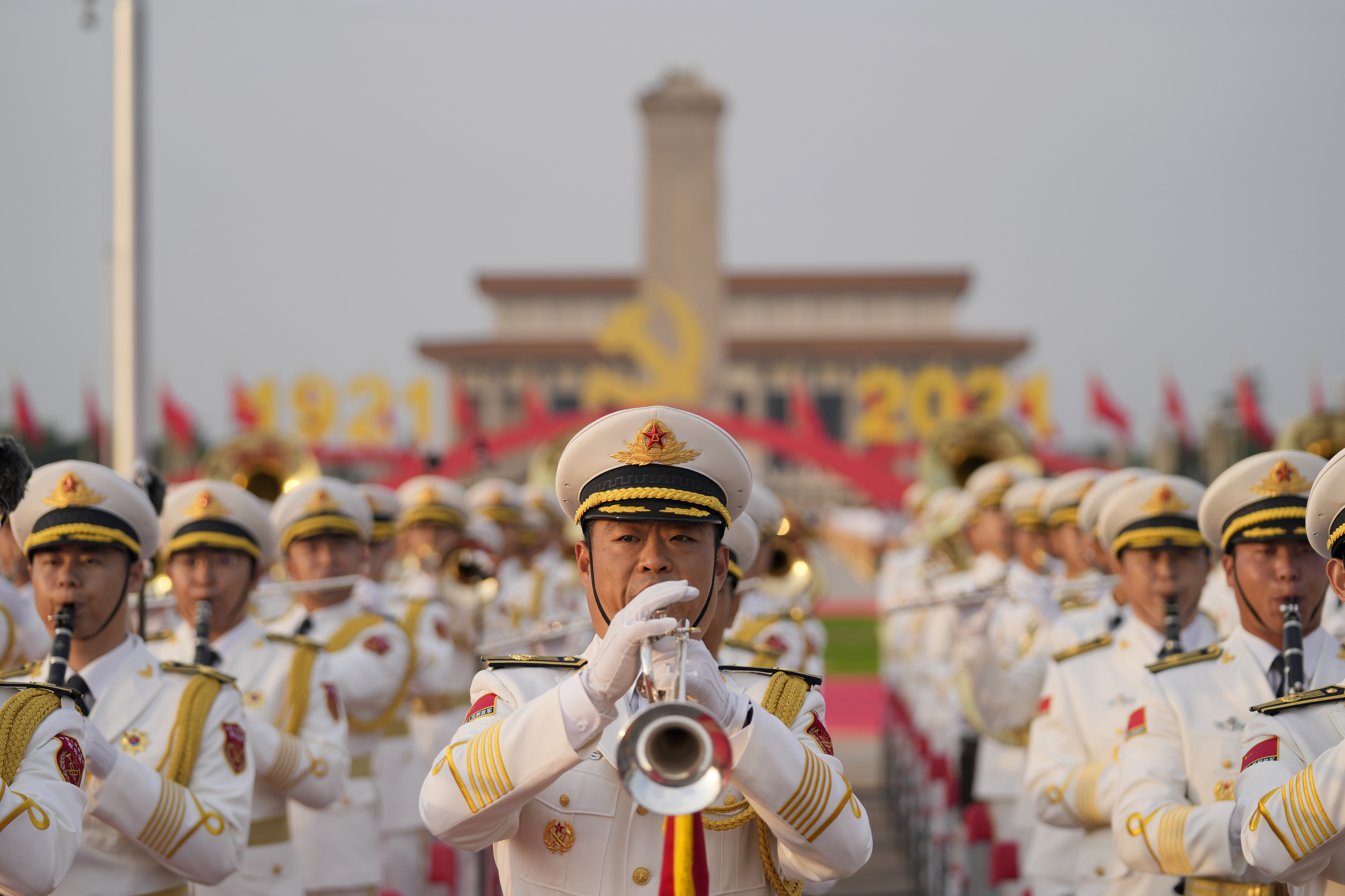 A military band rehearses to mark the anniversary of the founding of China's Communist Party.