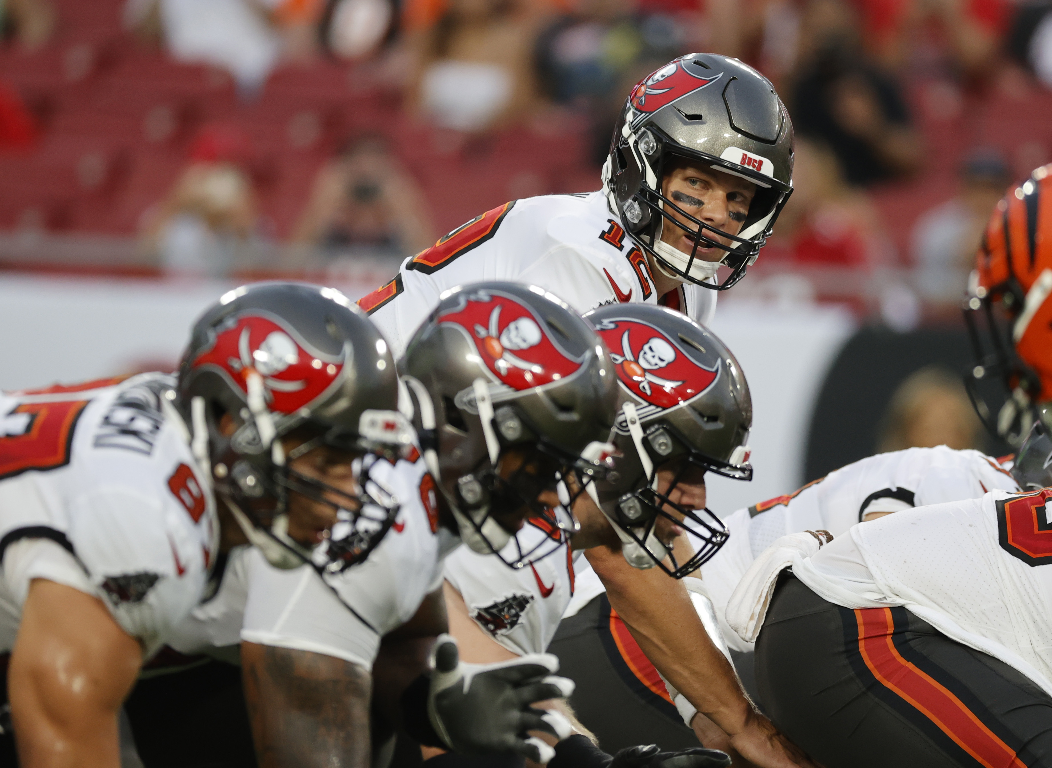 Tampa Bay Buccaneers quarterback Tom Brady waits for the snap against the Cincinnati Bengals during the first quarter at Raymond James Stadium.