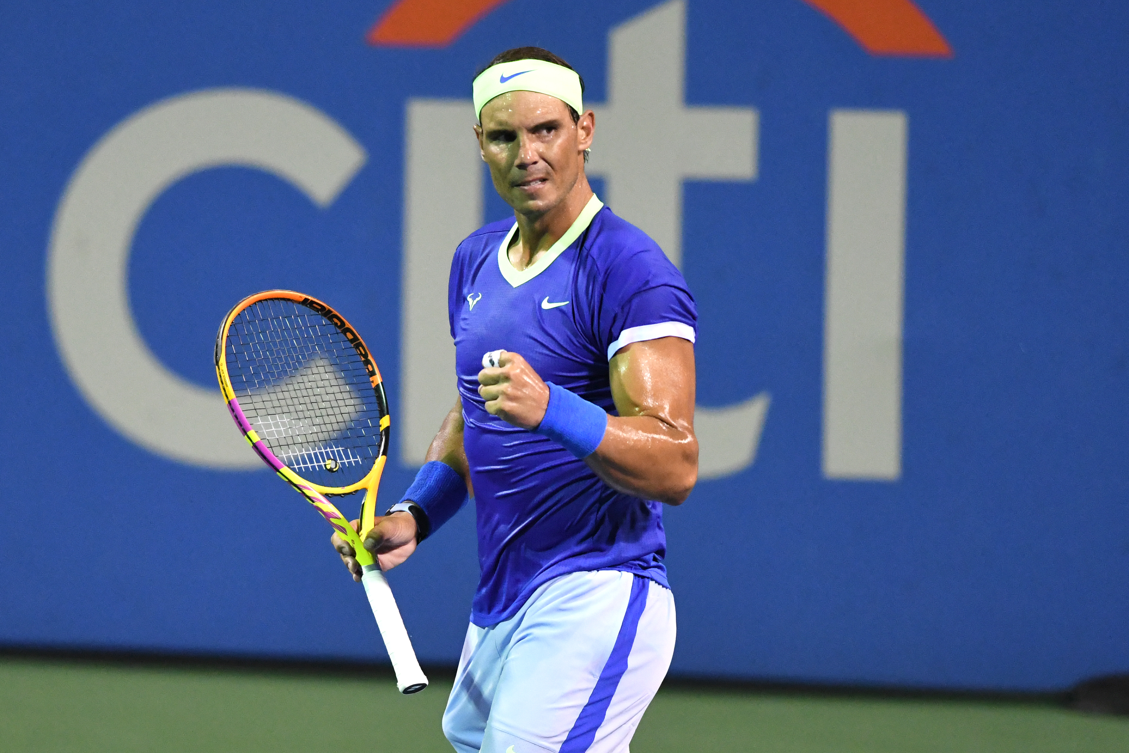 Rafael Nadal of Spain celebrates a shot during a match against Lloyd Harris of South Africa on Day 6 during the Citi Open at Rock Creek Tennis Center on August 5, 2021 in Washington, DC.