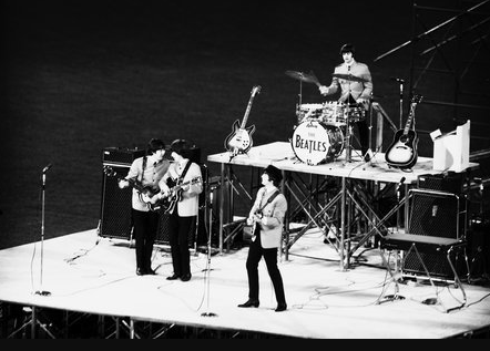 Beatles play at Comiskey Park in Chicago on Aug. 20, 1965
