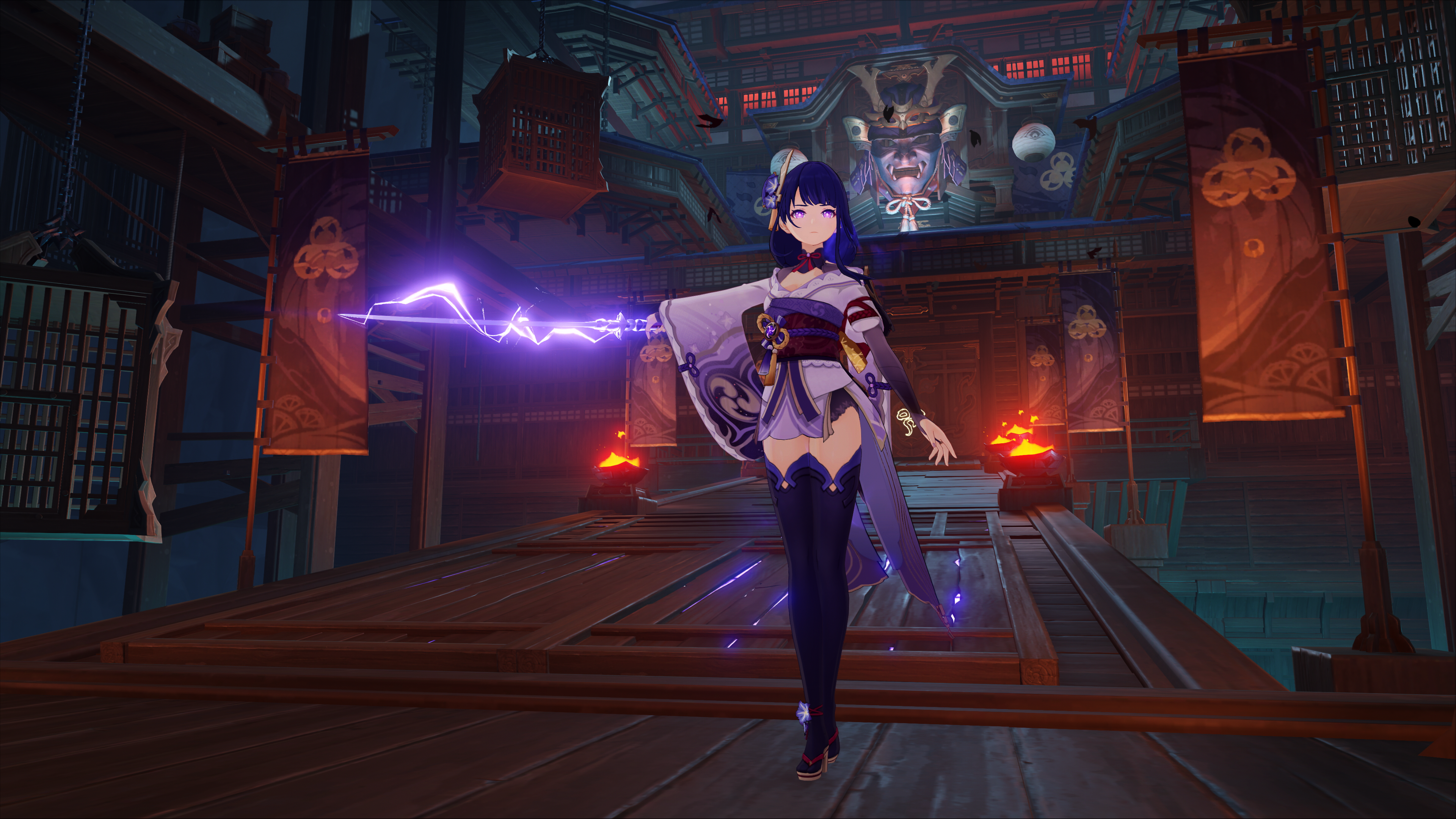 Raiden Shogun also known as Baal in Genshin Impact. She's holding her sword out and purple electricity is sparking from it