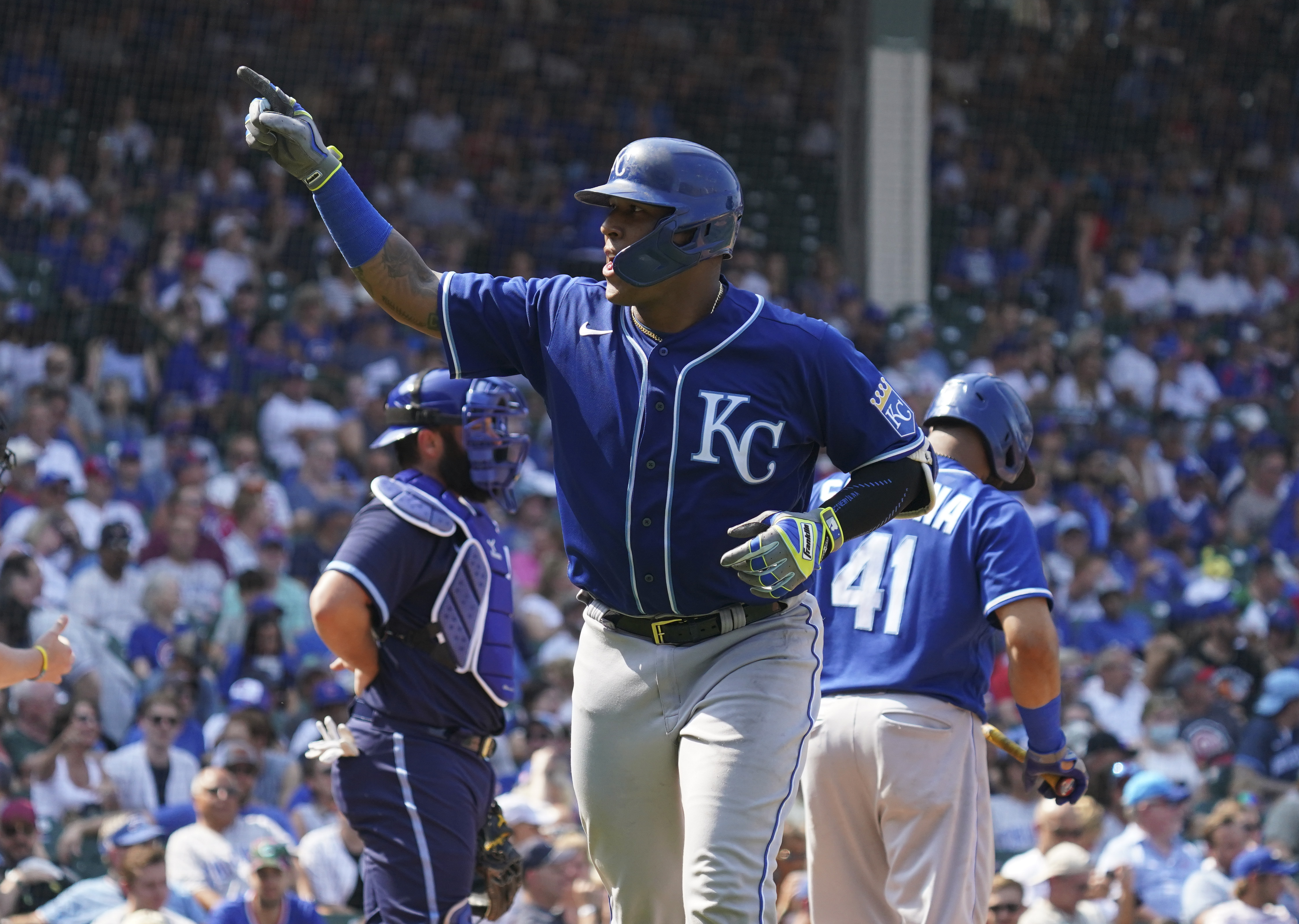 Salvador Perez #13 of the Kansas City Royals celebrates a home run during the sixth inning of a game against the Chicago Cubs at Wrigley Field on August 20, 2021 in Chicago, Illinois.