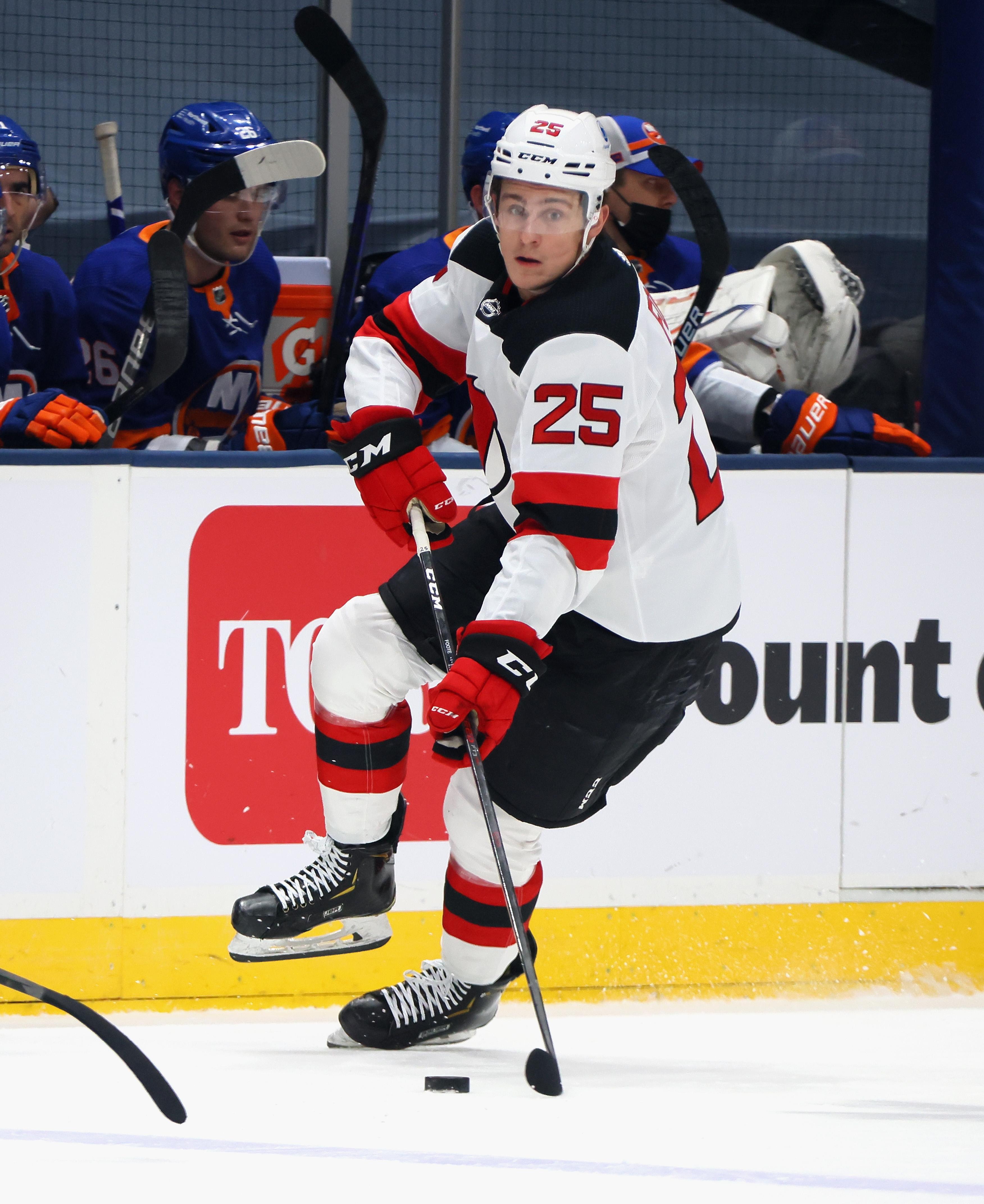 Nolan Foote skating; New Jersey Devils v New York Islanders