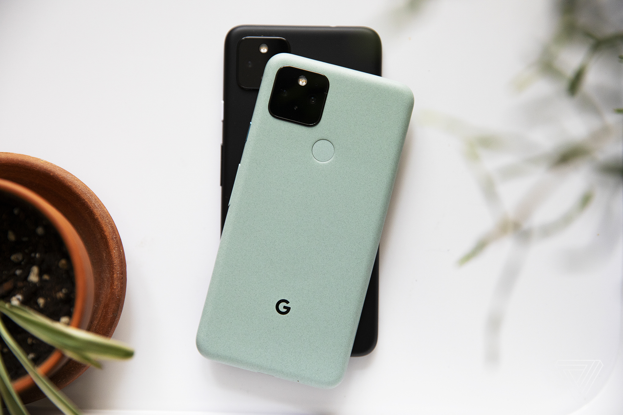 The Pixel 5 (top) and the Pixel 4A 5G (bottom)