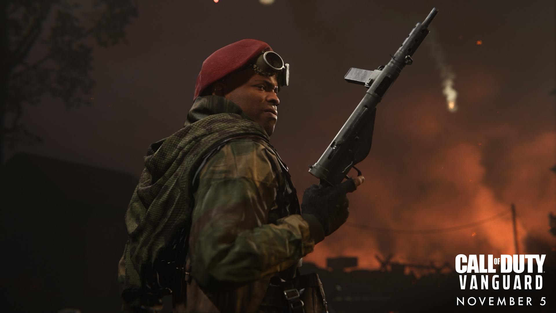 One of the characters from Call of Duty: Vanguard holding a gun