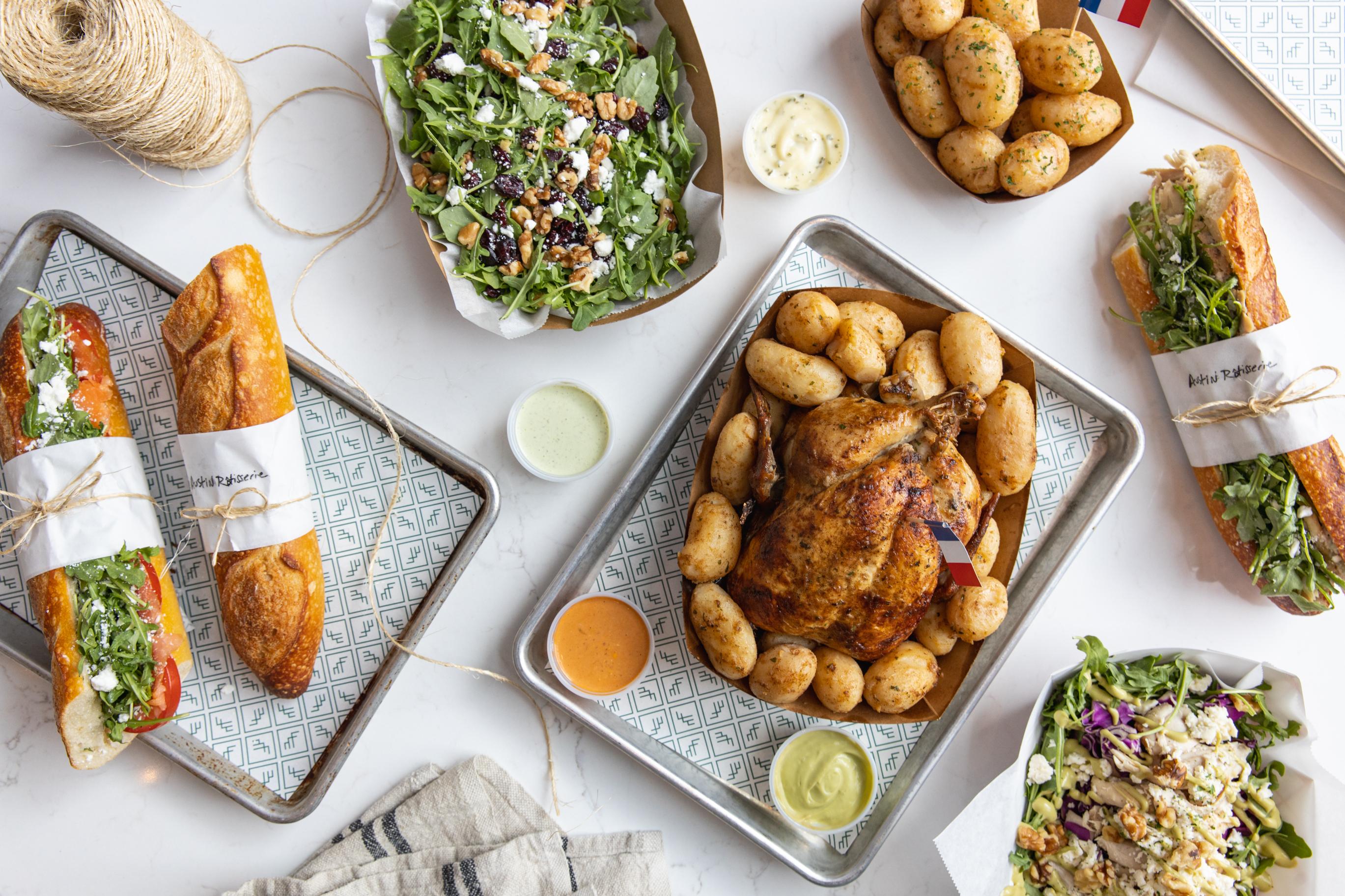 Rotisserie chicken, sandwiches, salads, and more from Austin Rotisserie