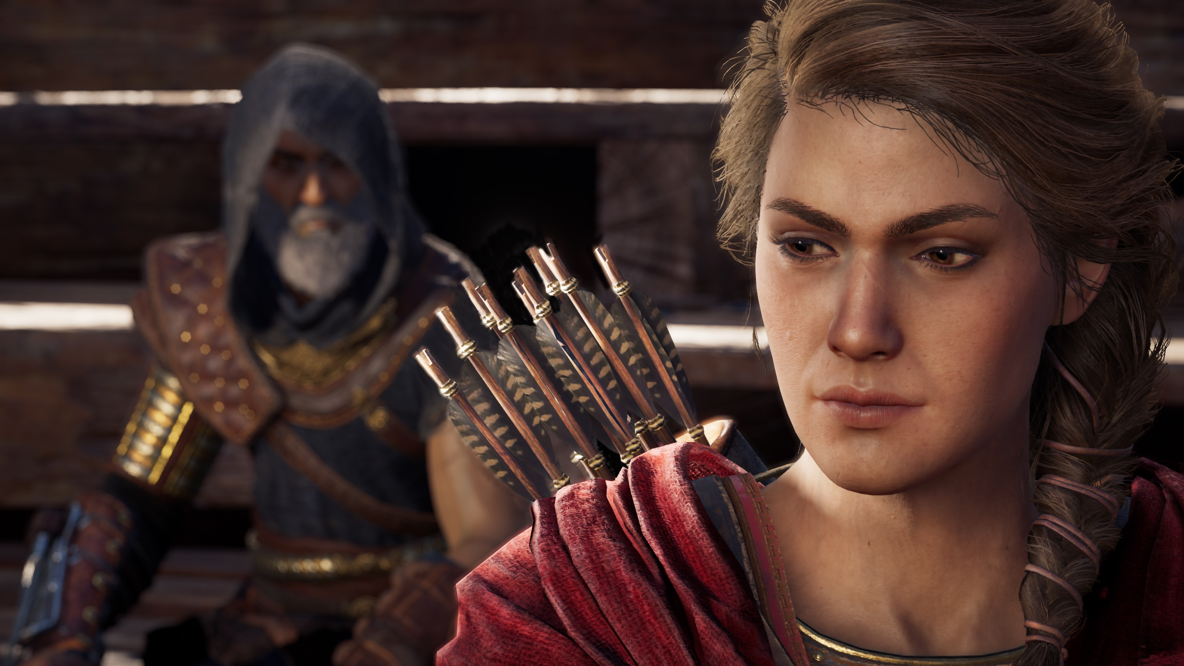 Assassin's Creed Odyssey - Kassandra with a hooded figure behind her