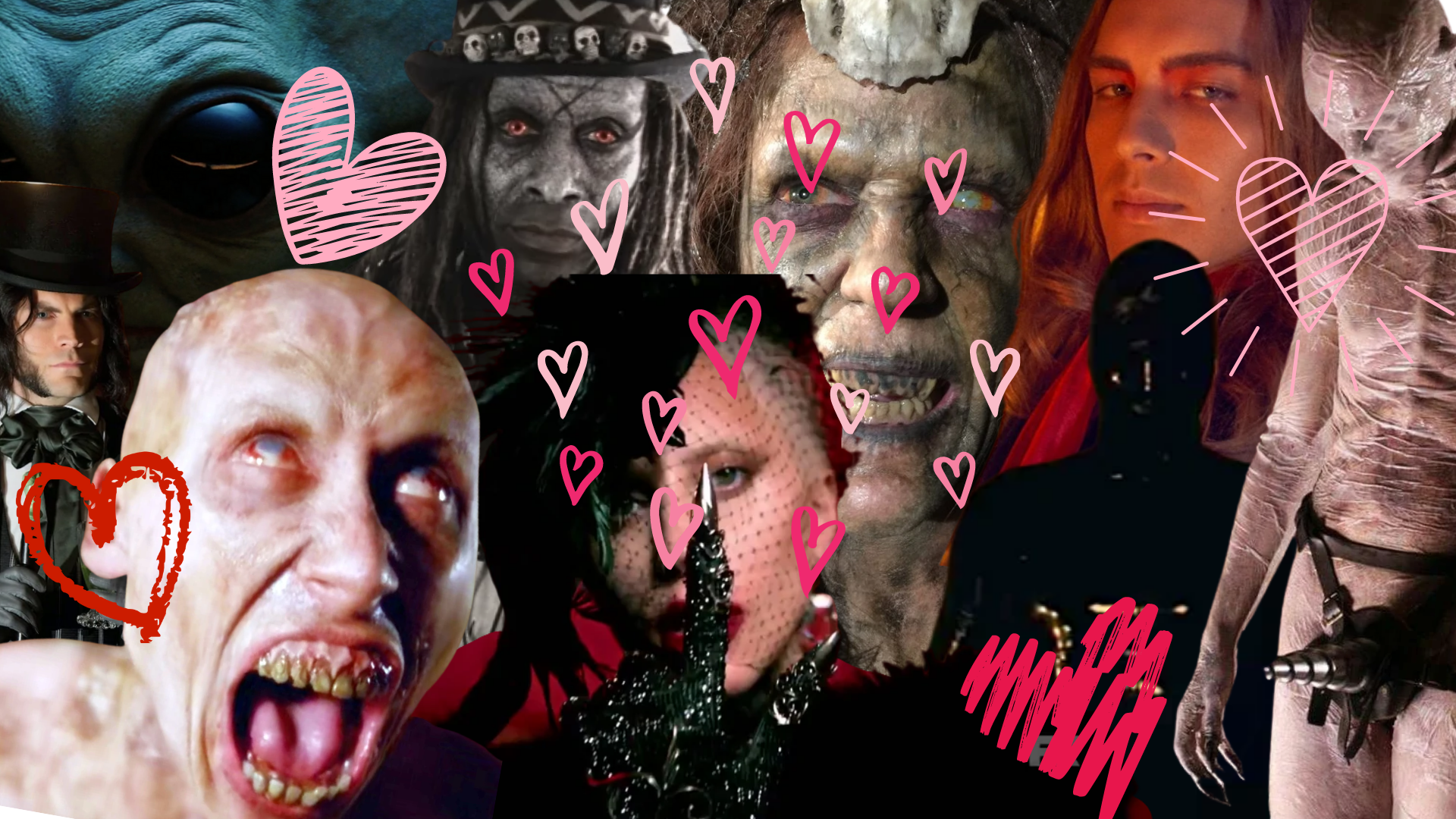 a collage of AHS creatures with a bunch of hearts surrounding them