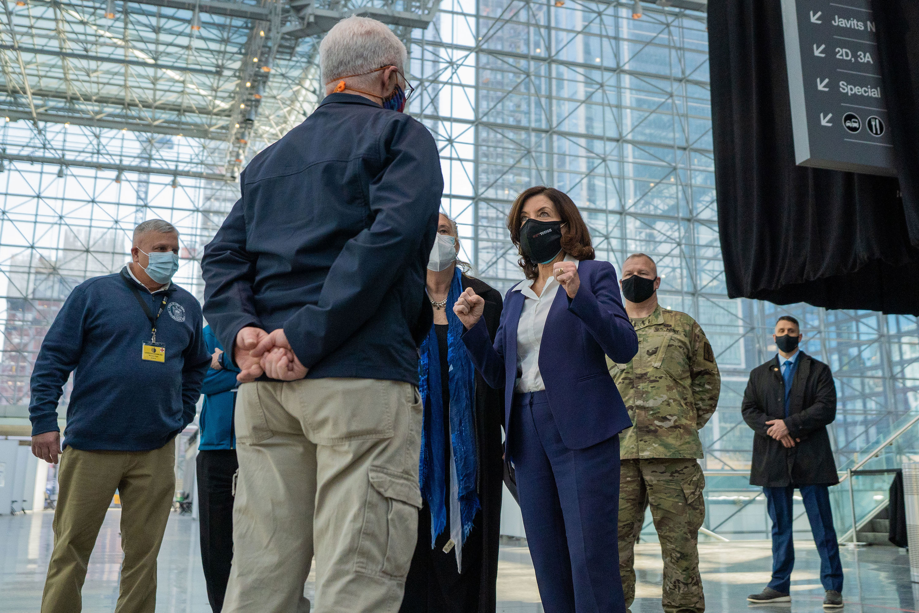 Then Lt. Gov. Kathy Hochul speaks with Dr. Eugene Heslin, 1st deputy commissioner of the New York State Department regarding state efforts to provide mass COVID-19 vaccinations administered by the NYS Dept of Health in at the Javits Center in Manhattan, February 10, 2021.
