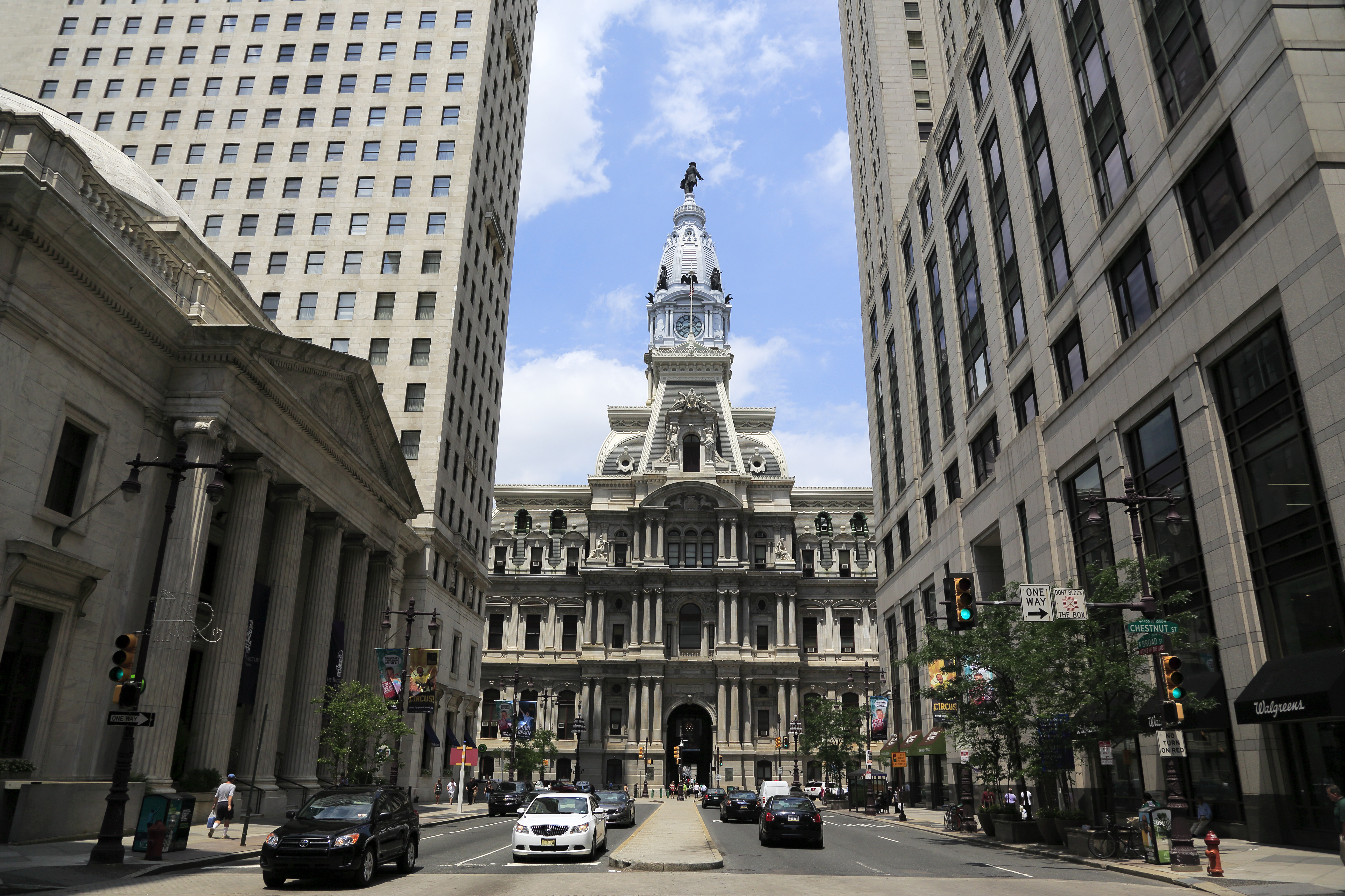 A view of the Philadelphia City Hall from Market Street in downtown Philadelphia.