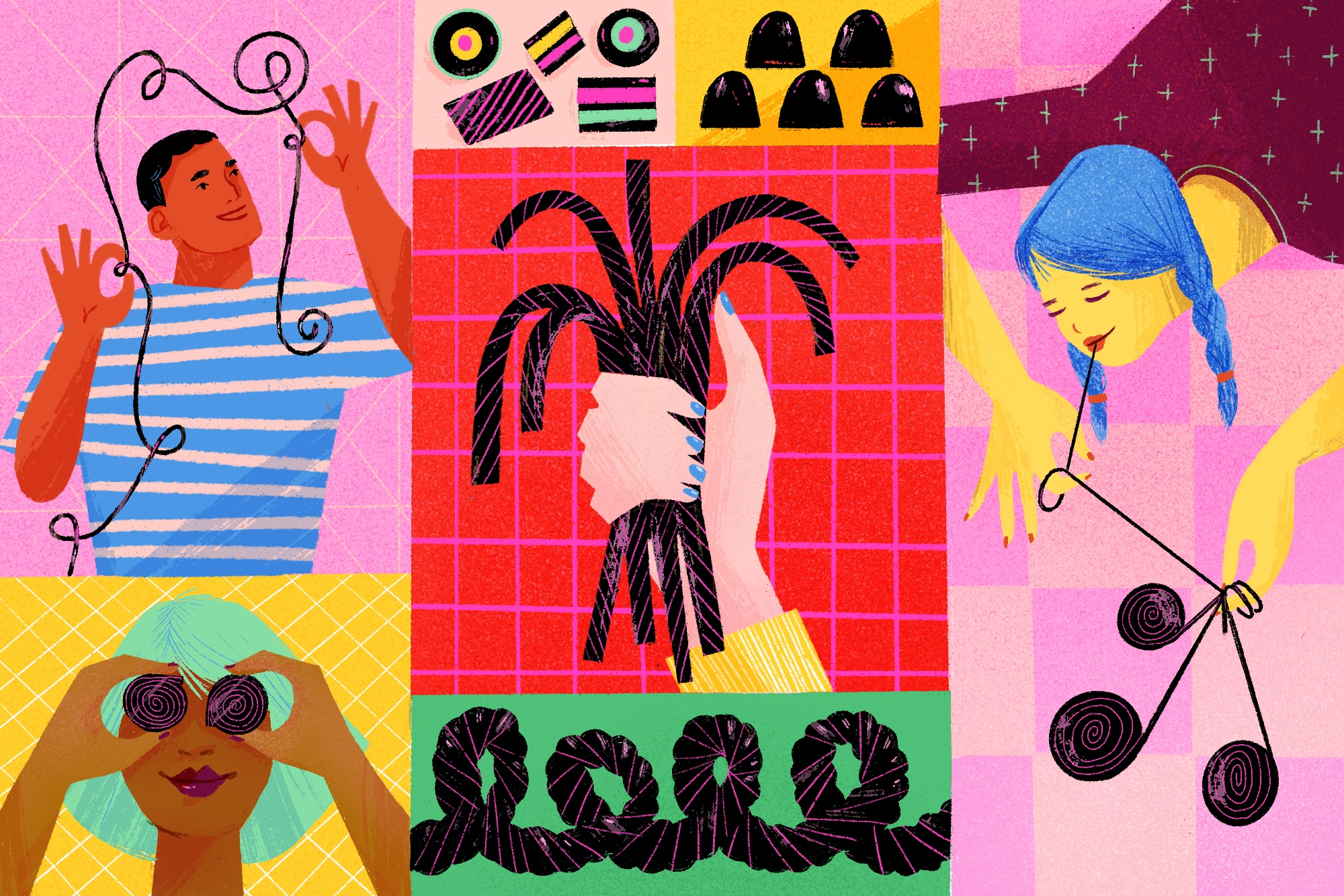 A colorful illustration showing black licorice in different forms.