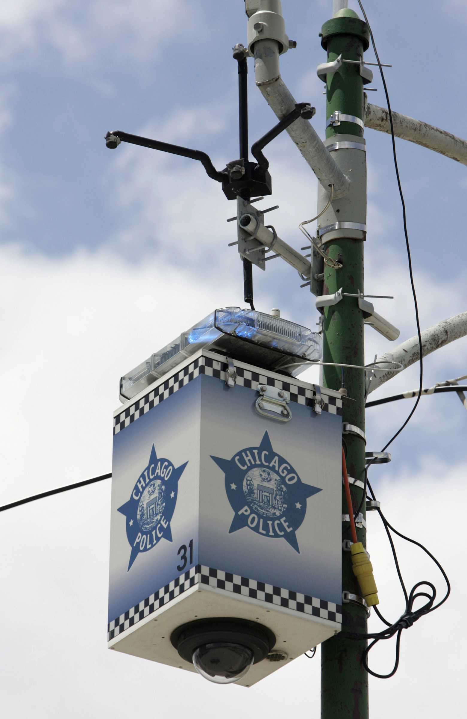 A Chicago Police Department surveillance camera mounted on a light pole in 2005.