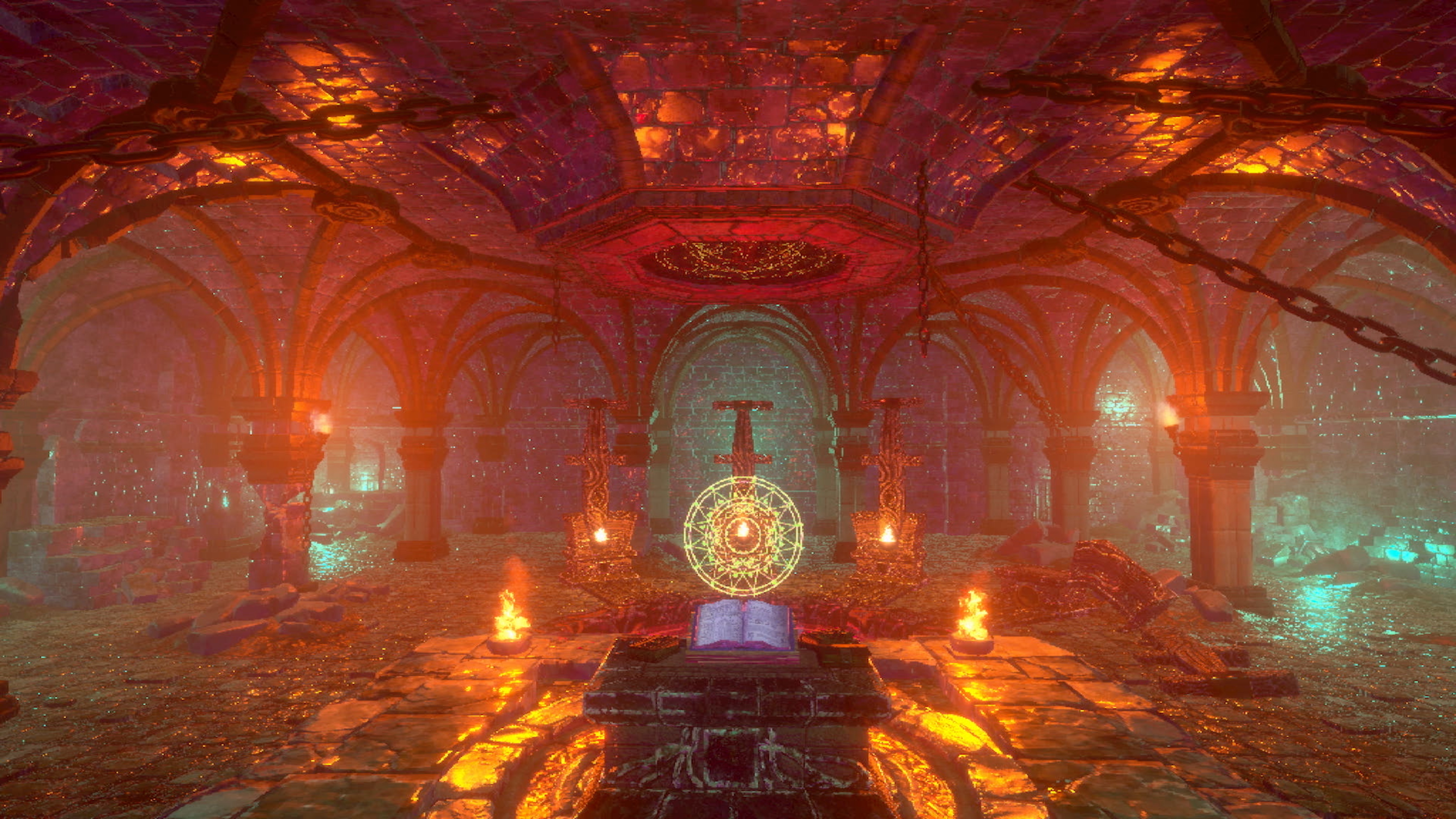 Into the Pit - a caster approaches a demonic ritual altar in the pits of hell