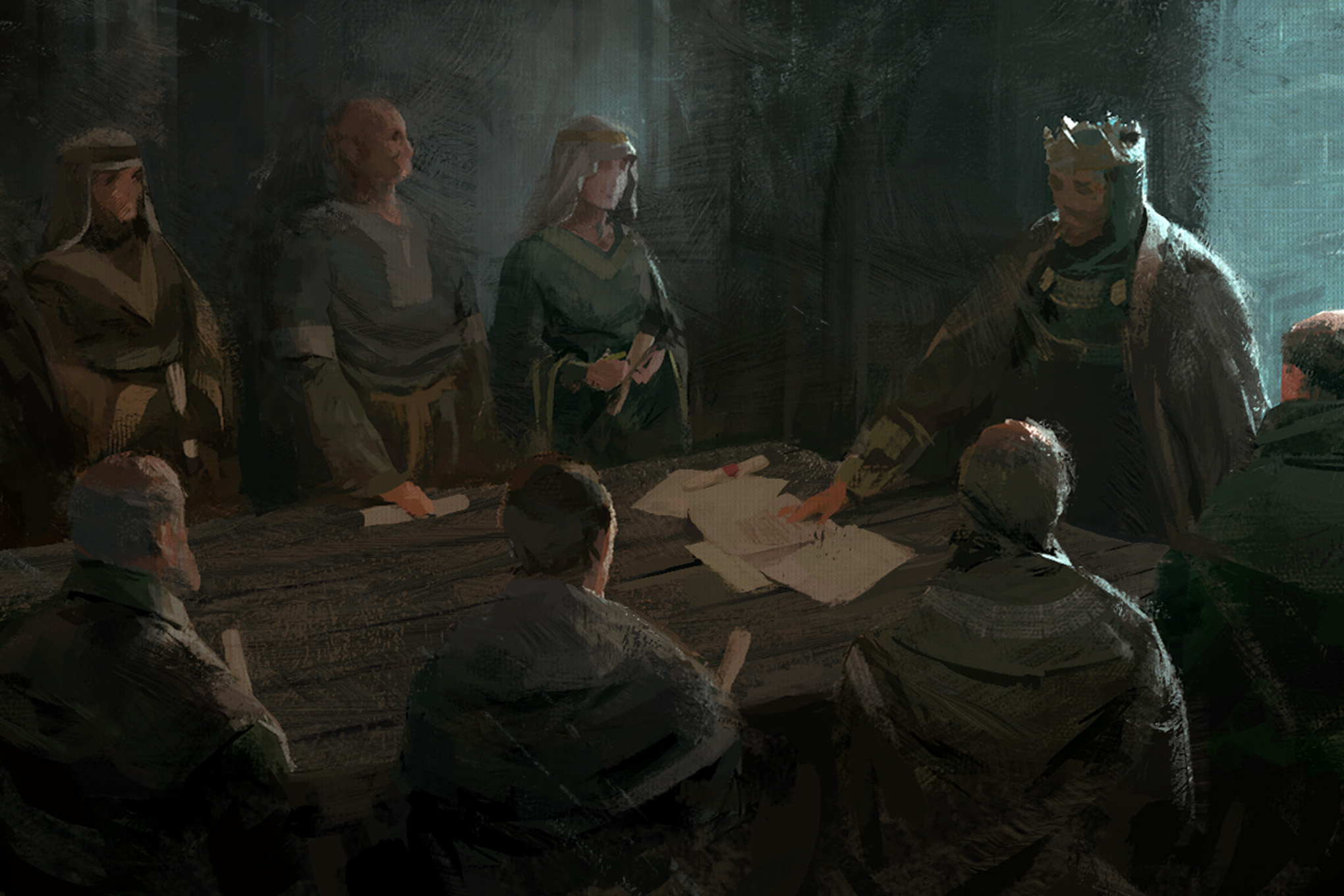 A king points to papers on a table. Around him sits his council.