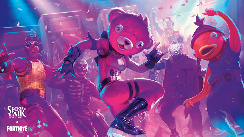 A pink furry dancing in a club.