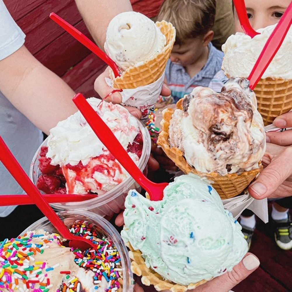 Waffles cones and cup filled with some of the 150 flavors created by Bruster's Real Ice Cream.