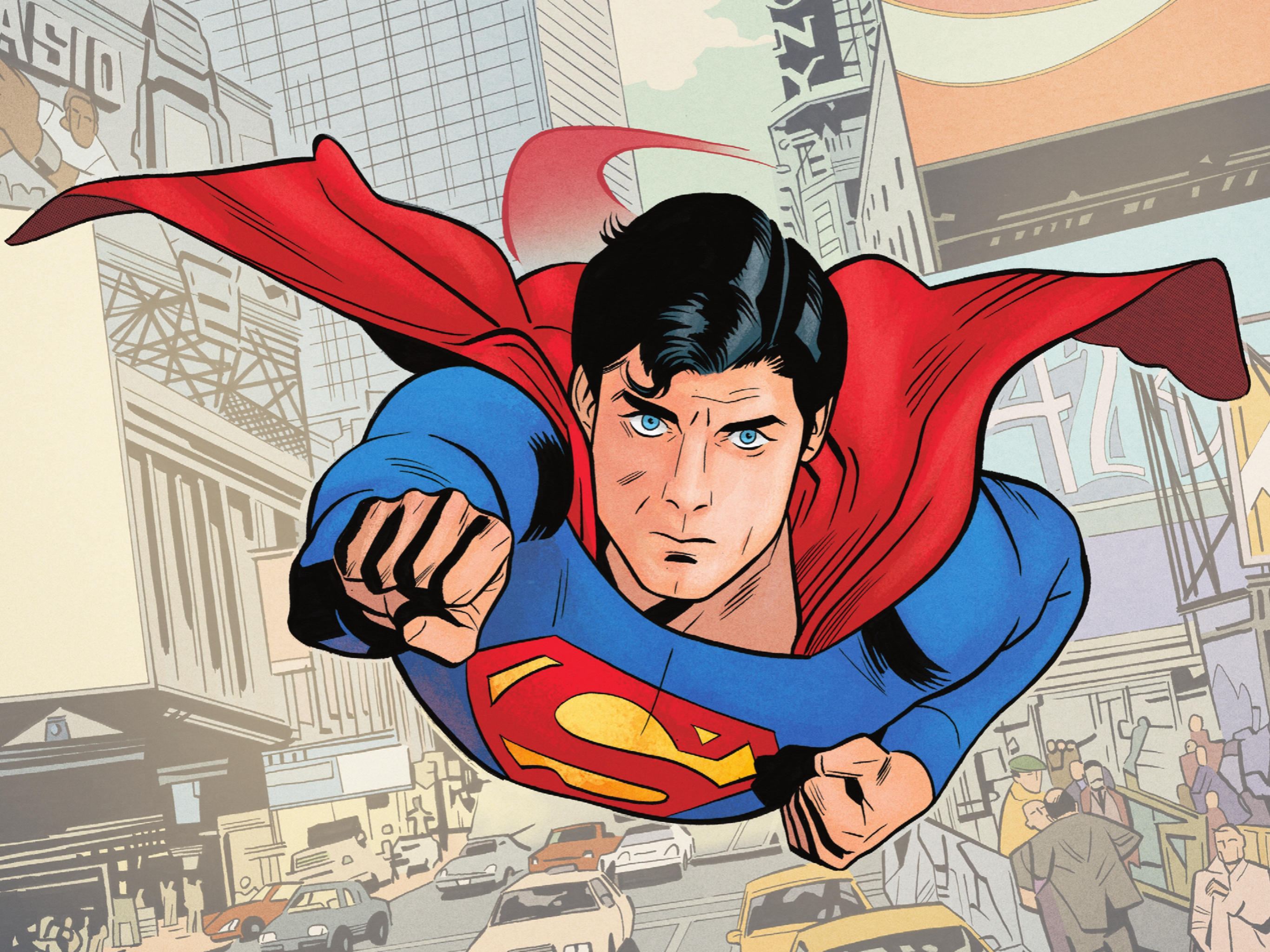 One arm raised and one tucked in to his chest in the classic pose, Superman swoops through the air and towards the camera with a Christopher Reevesian intensity in Superman '78 #1 (2021).