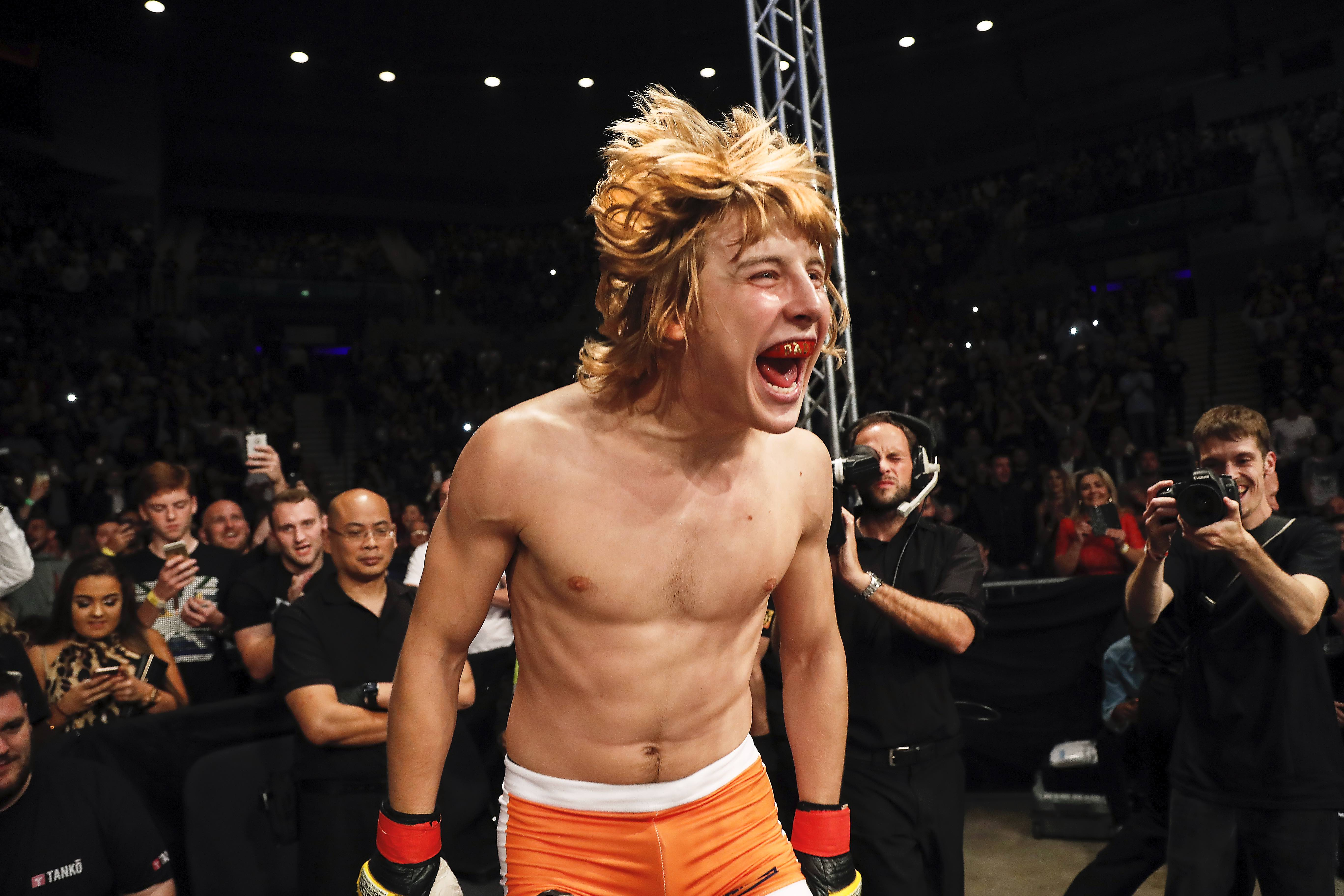 Paddy Pimblett walks to the cage ahead of a Cage Warriors event.