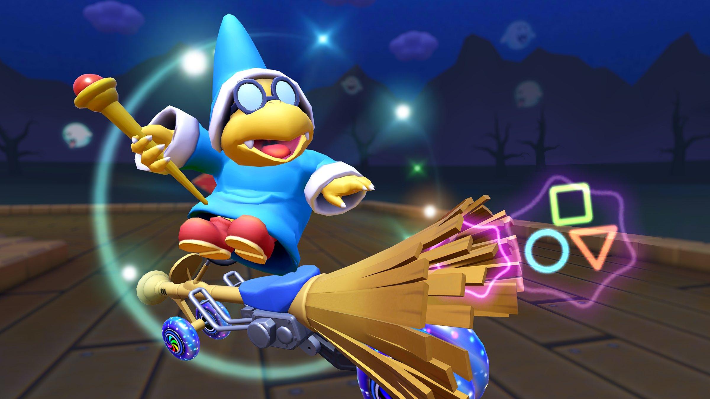 Kamek riding his broom kart in Mario Kart Tour