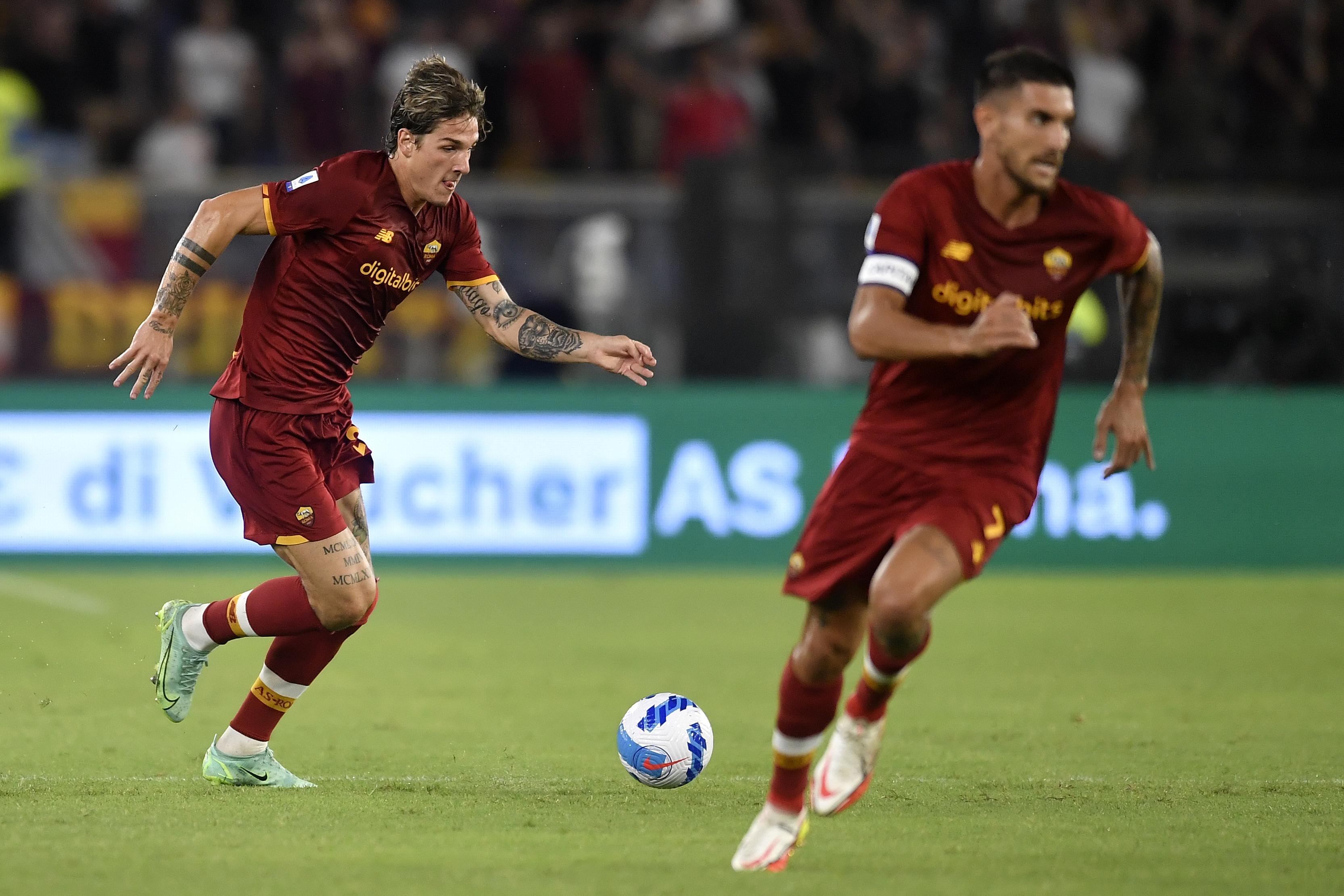 Nicolo Zaniolo and Lorenzo Pellegrini of AS Roma in action...