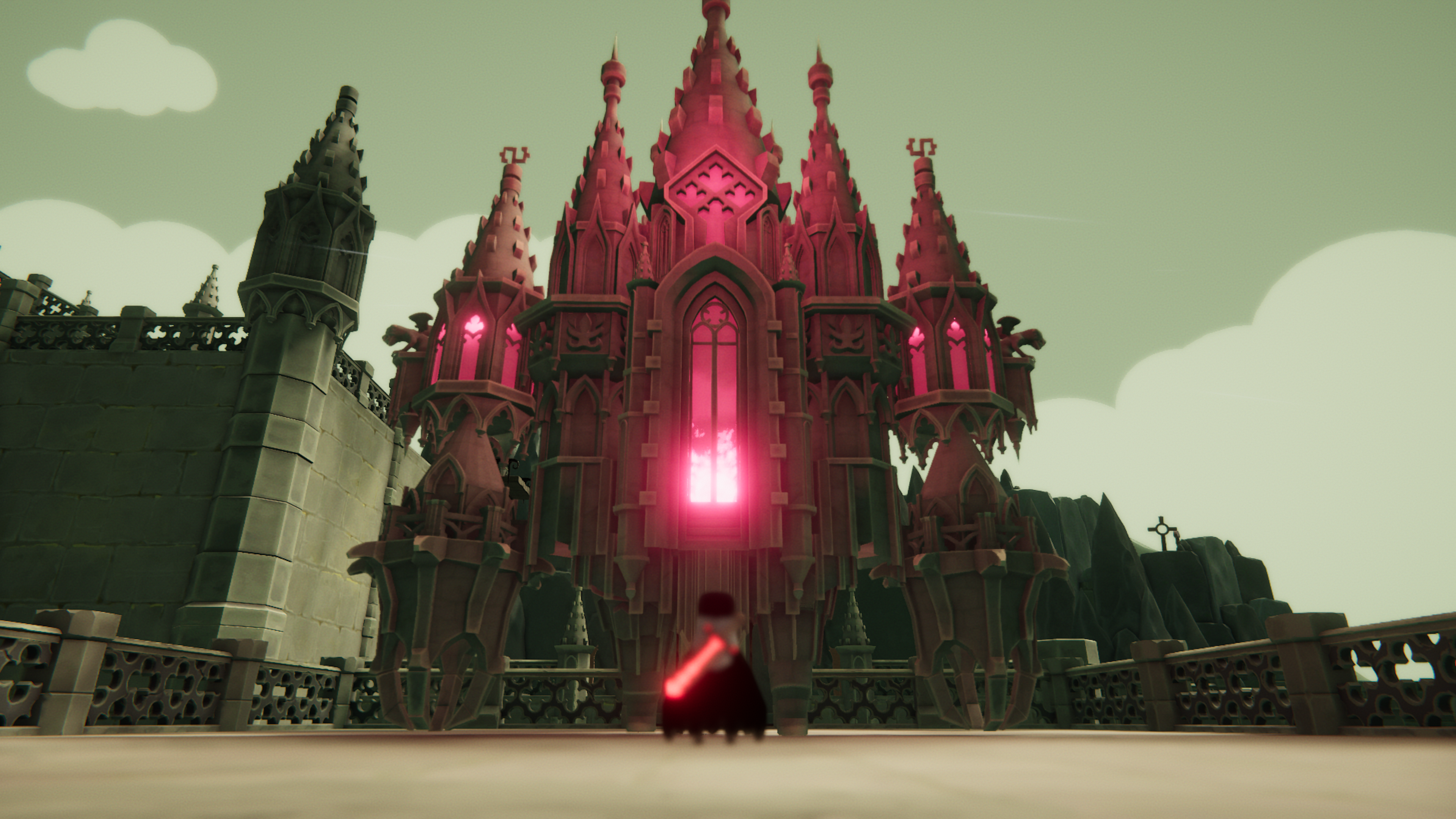 A giant creature stands above a small crow in Death's Door