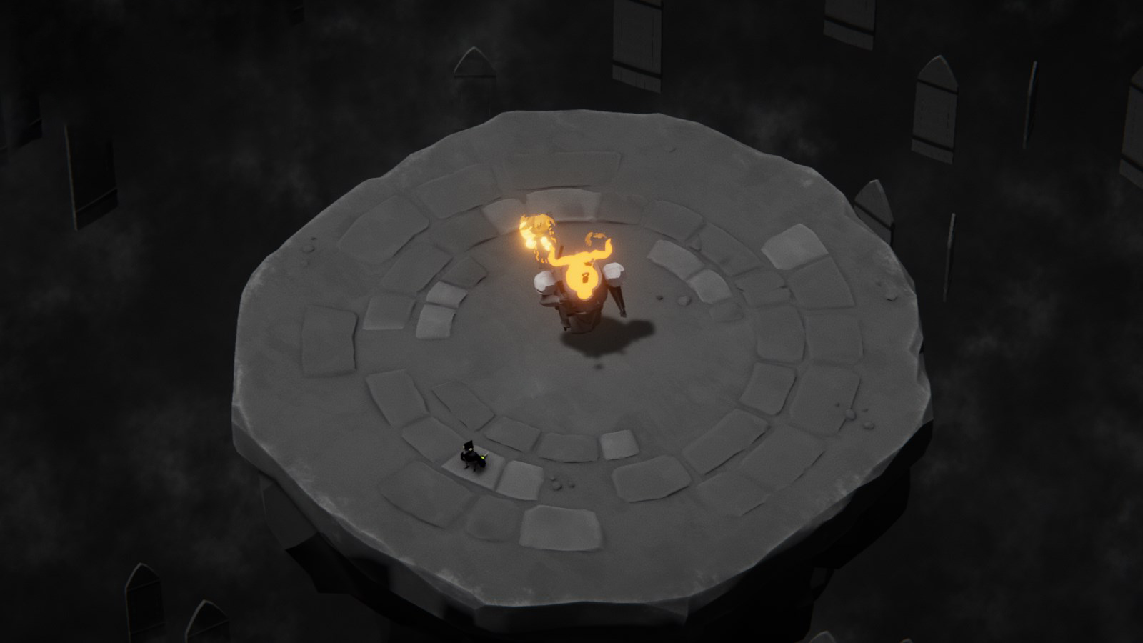 A fiery boss wielding a large tuning fork on a stone platform with a small crow