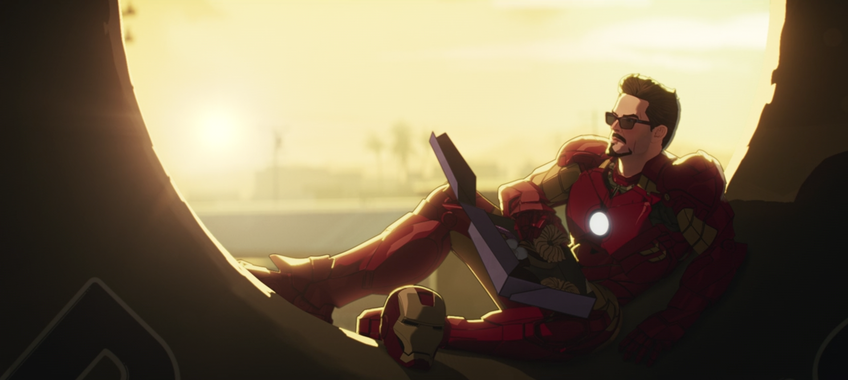 Iron Man Reclines inside a giant doughnut in What If...?