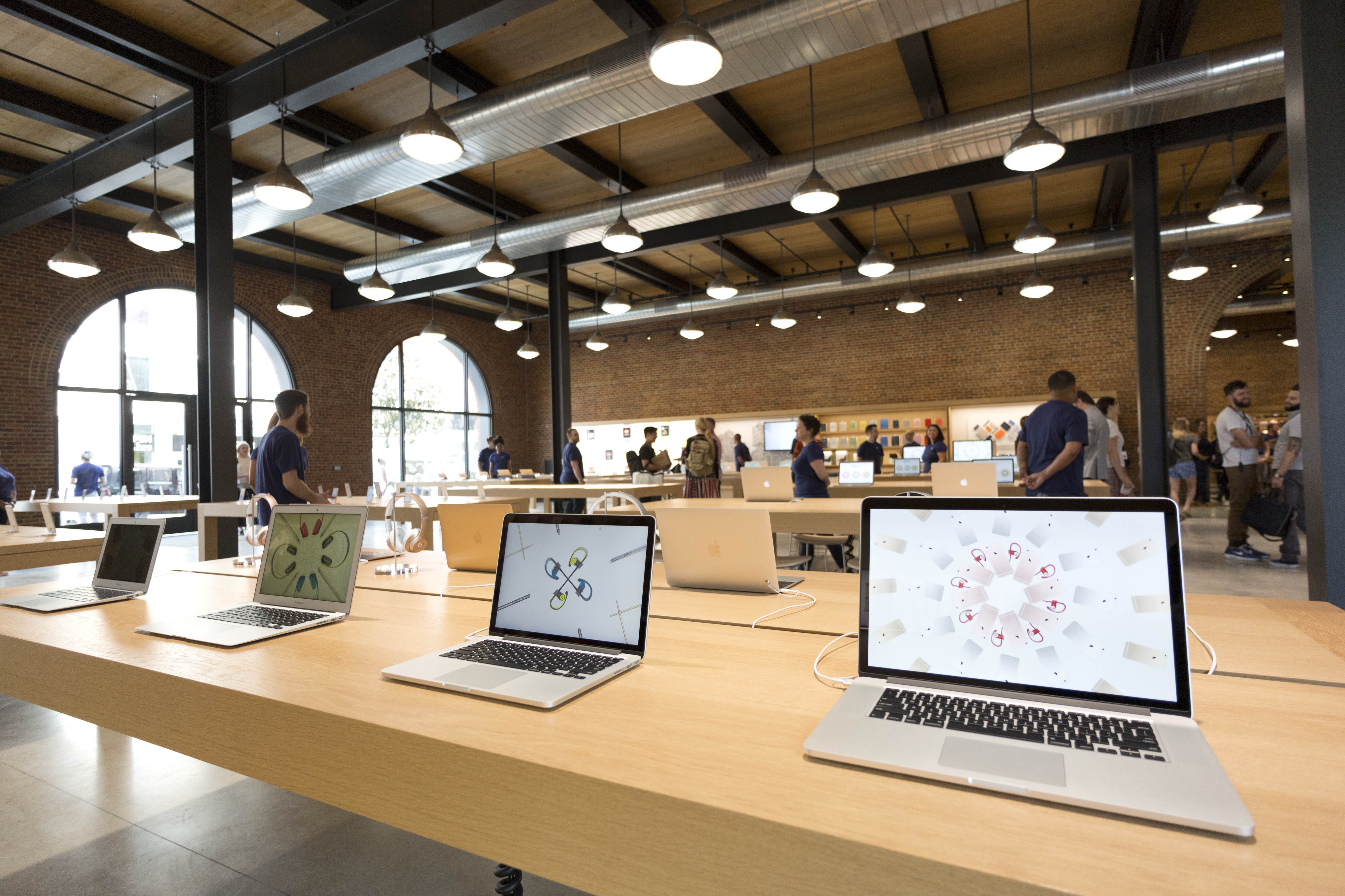Mac laptops are displayed at a new Apple Store in the Williamsburg section in the Brooklyn borough of New York.
