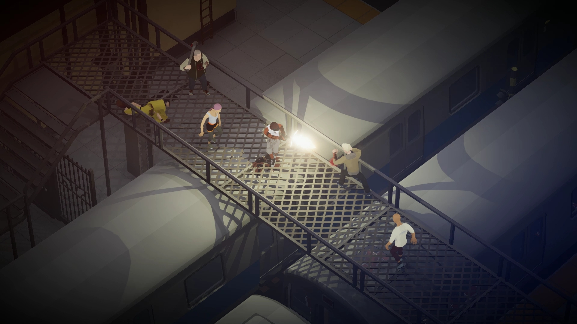 Players beat up enemies in Midnight Fight Express