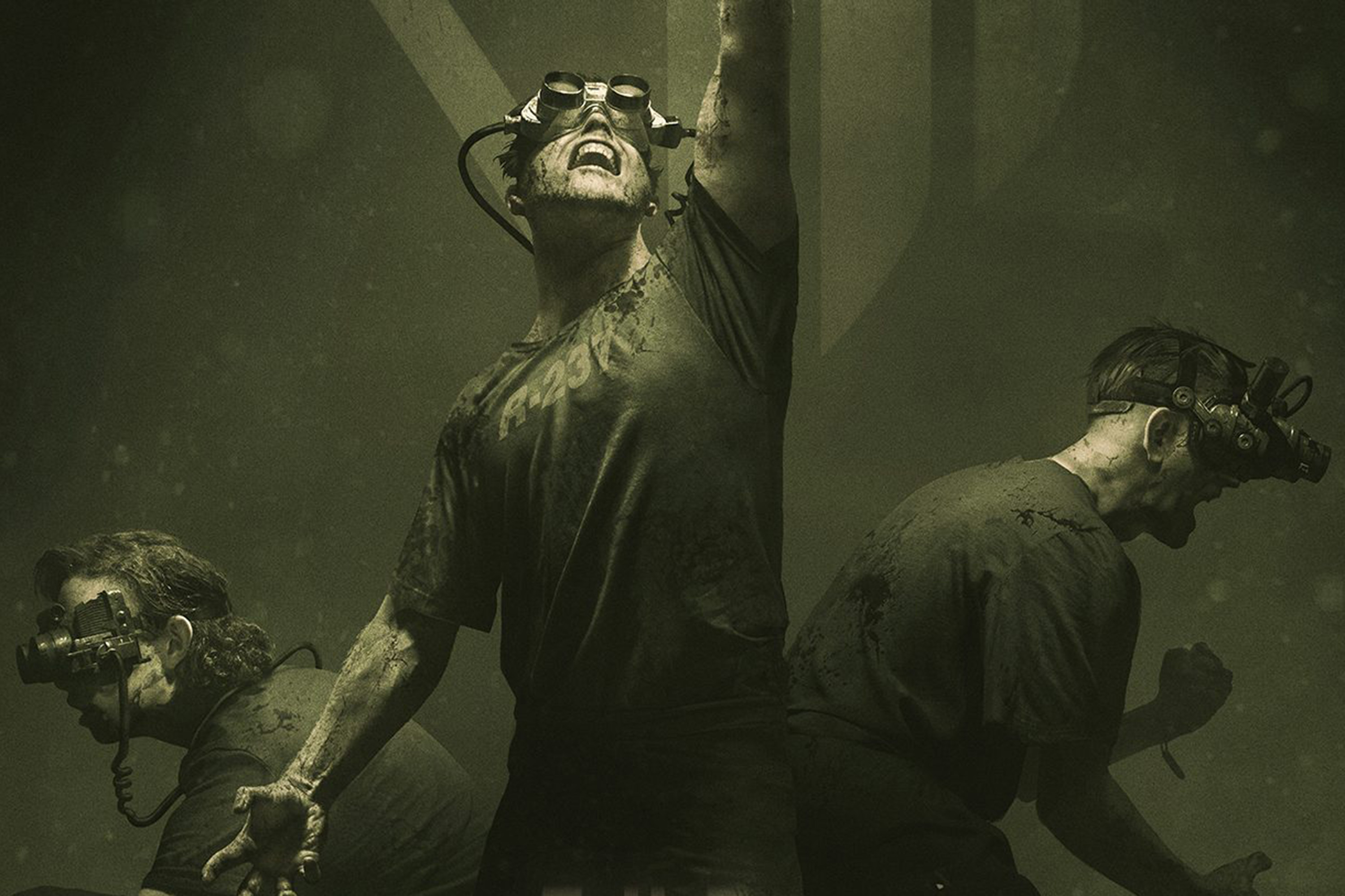 Three men, dressed in t-shirts and covered in blood, wear binoculars strapped to their faces.