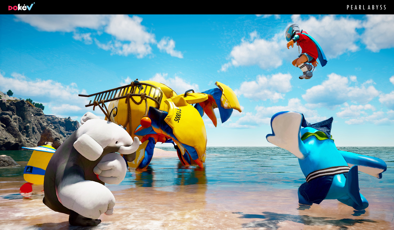creatures playing in water with a kid flying above
