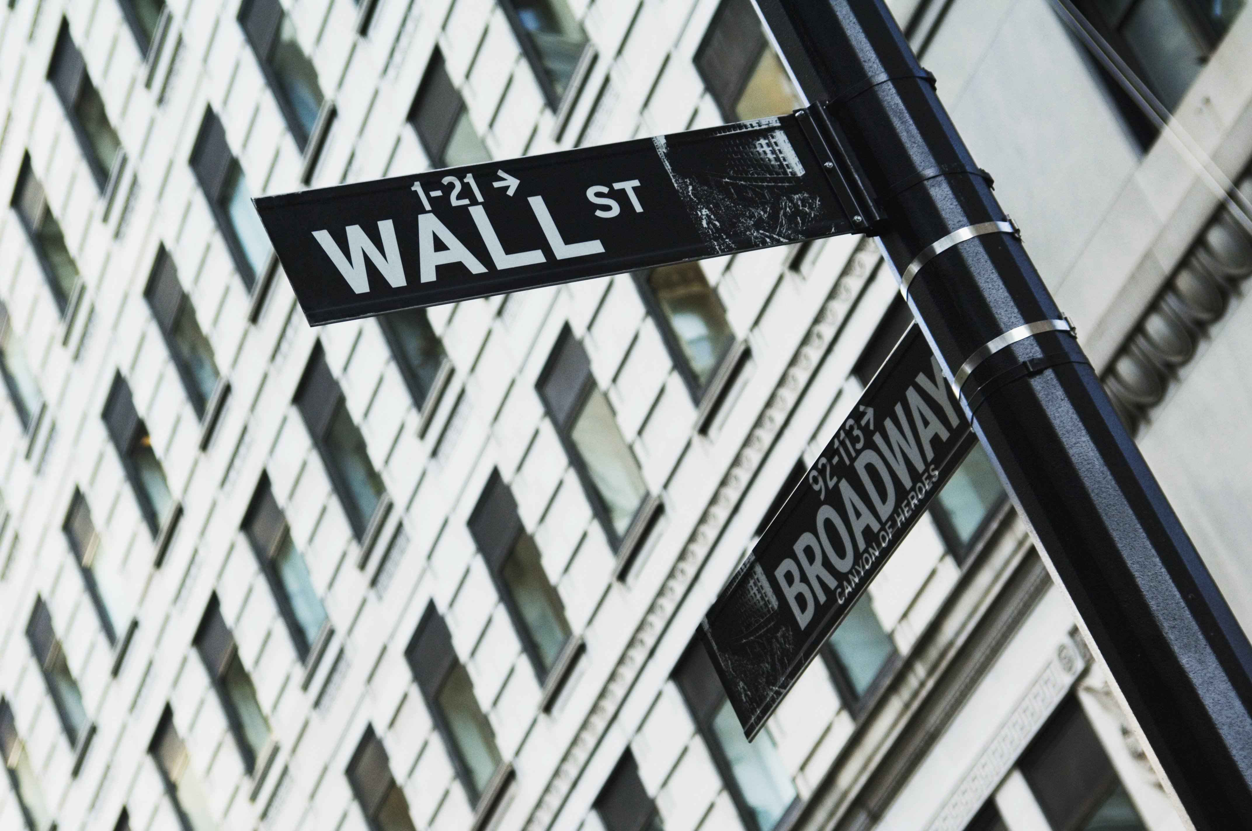 A street sign for Wall Street in New York City.