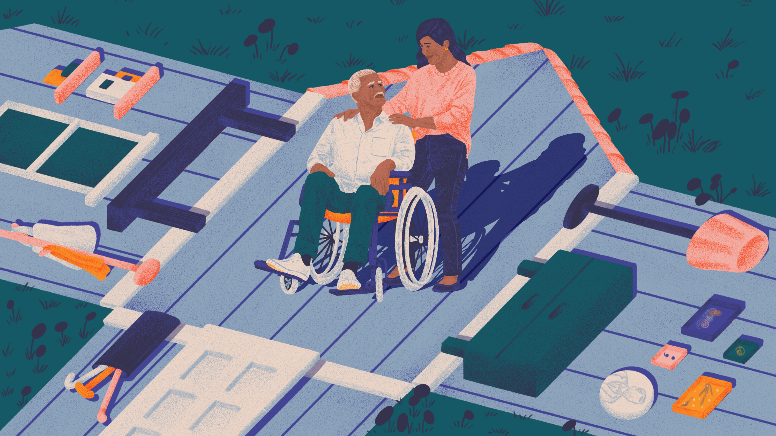 An elderly person in a wheelchair and his caretaker are shown on top of a flattened house