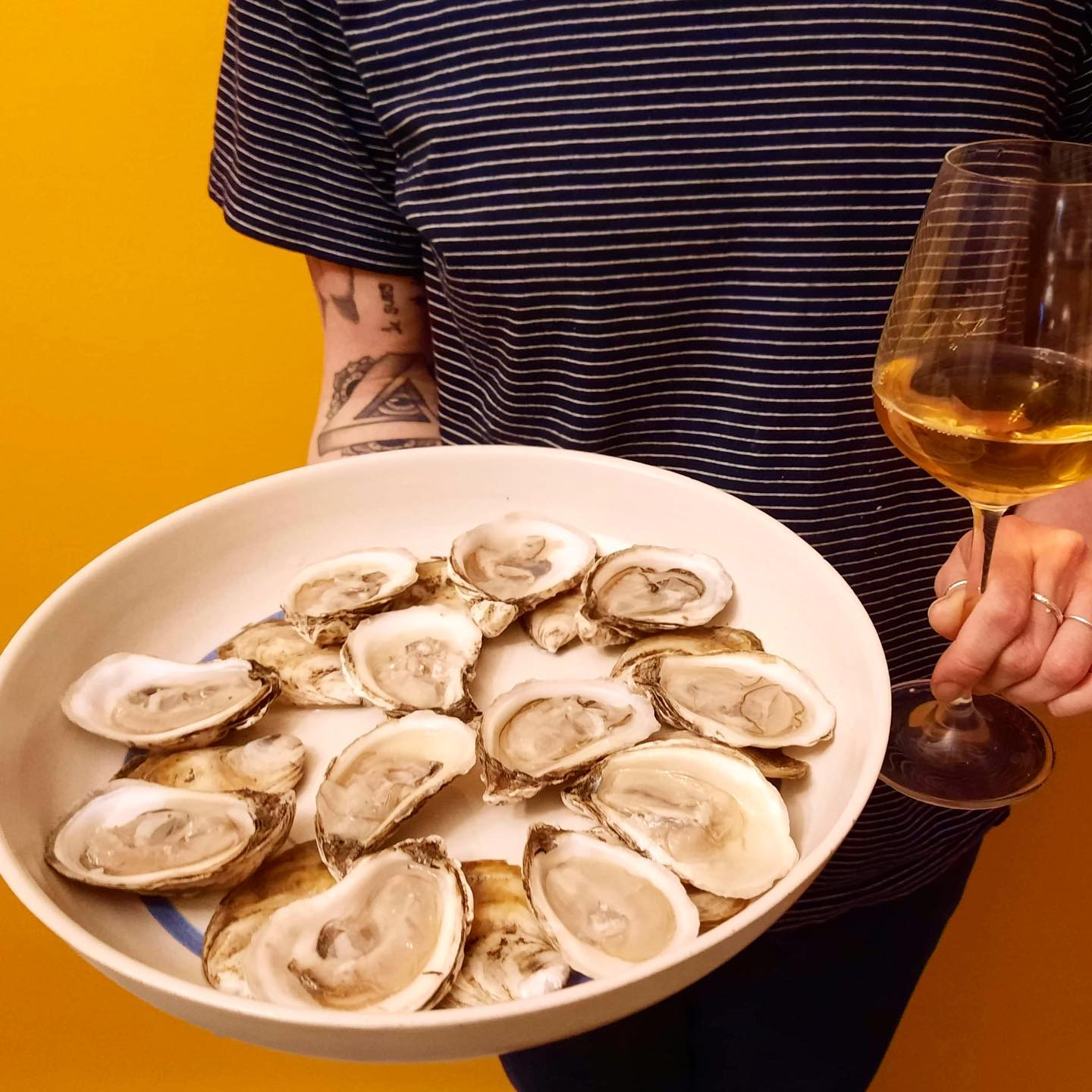 oysters and orange wine
