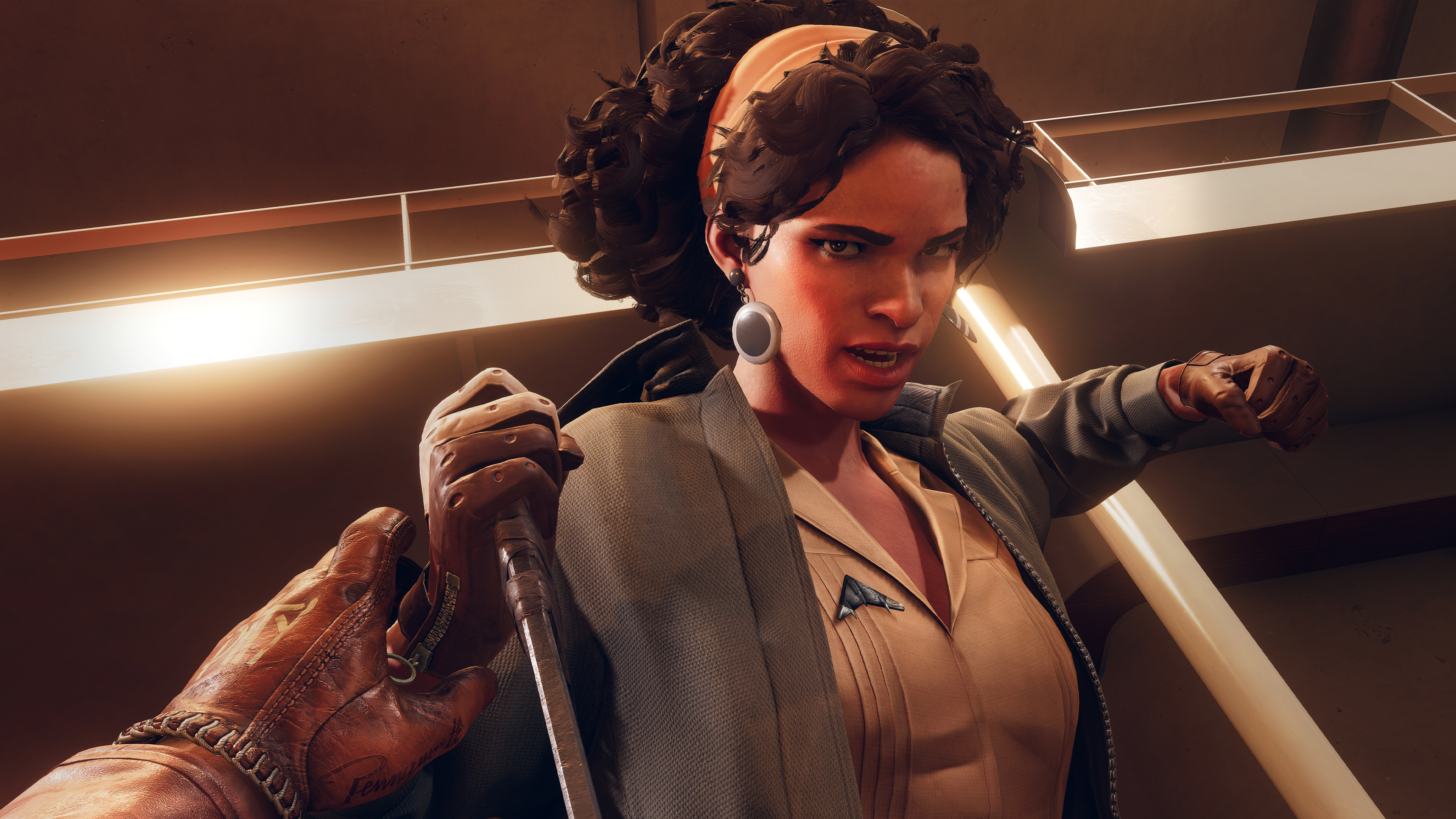 Julianna pulls back to swing at the player, Cole, in a screenshot from Deathloop