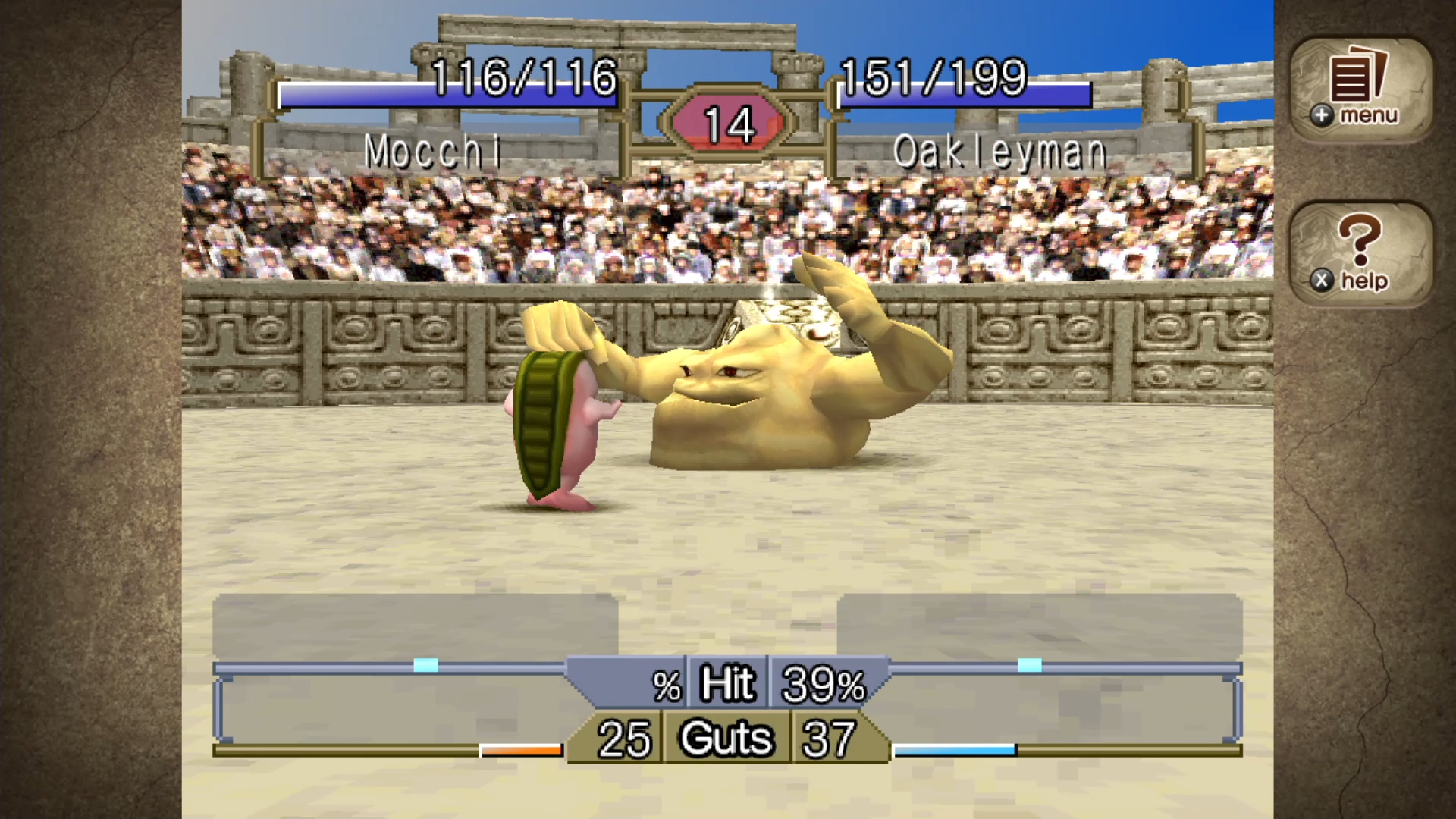 two monsters facing each other down in a fight in a stadium in Monster Rancher