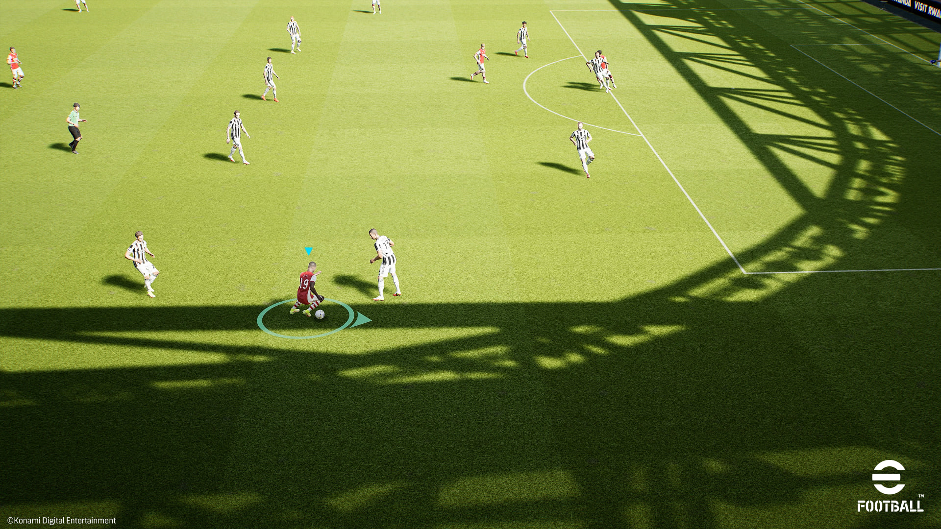 screenshot showing gameplay in eFootball, an attacker in the corner of his opponent's half of the pitch