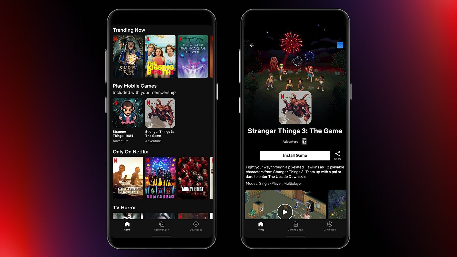 A mock-up of Netflix's games interface showing off Stranger Things 3 and Stranger Things: 1984 in a row beneath streaming shows.