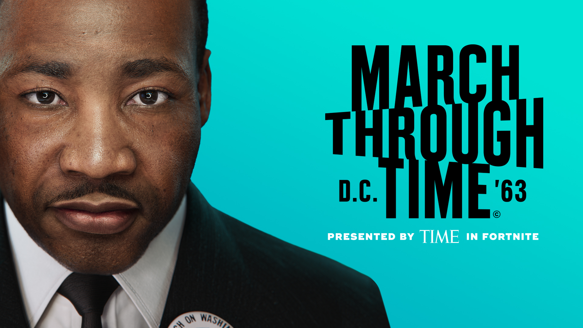 artwork for the March Through Time Fortnite event featuring Dr. Martin Luther King Jr.