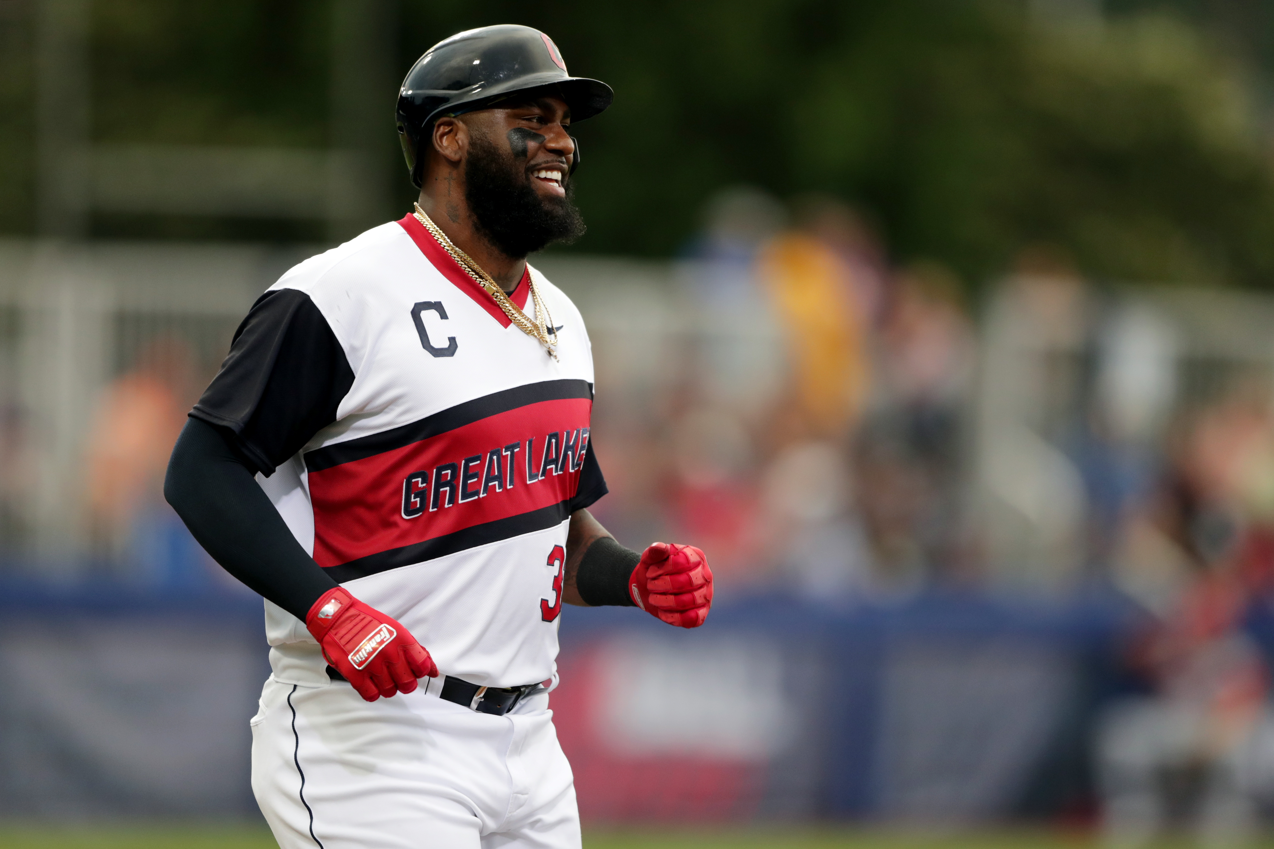 Franmil Reyes #32 of the Cleveland Indians looks on during the game between the Los Angeles Angels and the Cleveland Indians at Historic Bowman Field on Sunday, August 22, 2021 in Williamsport, Pennsylvania.