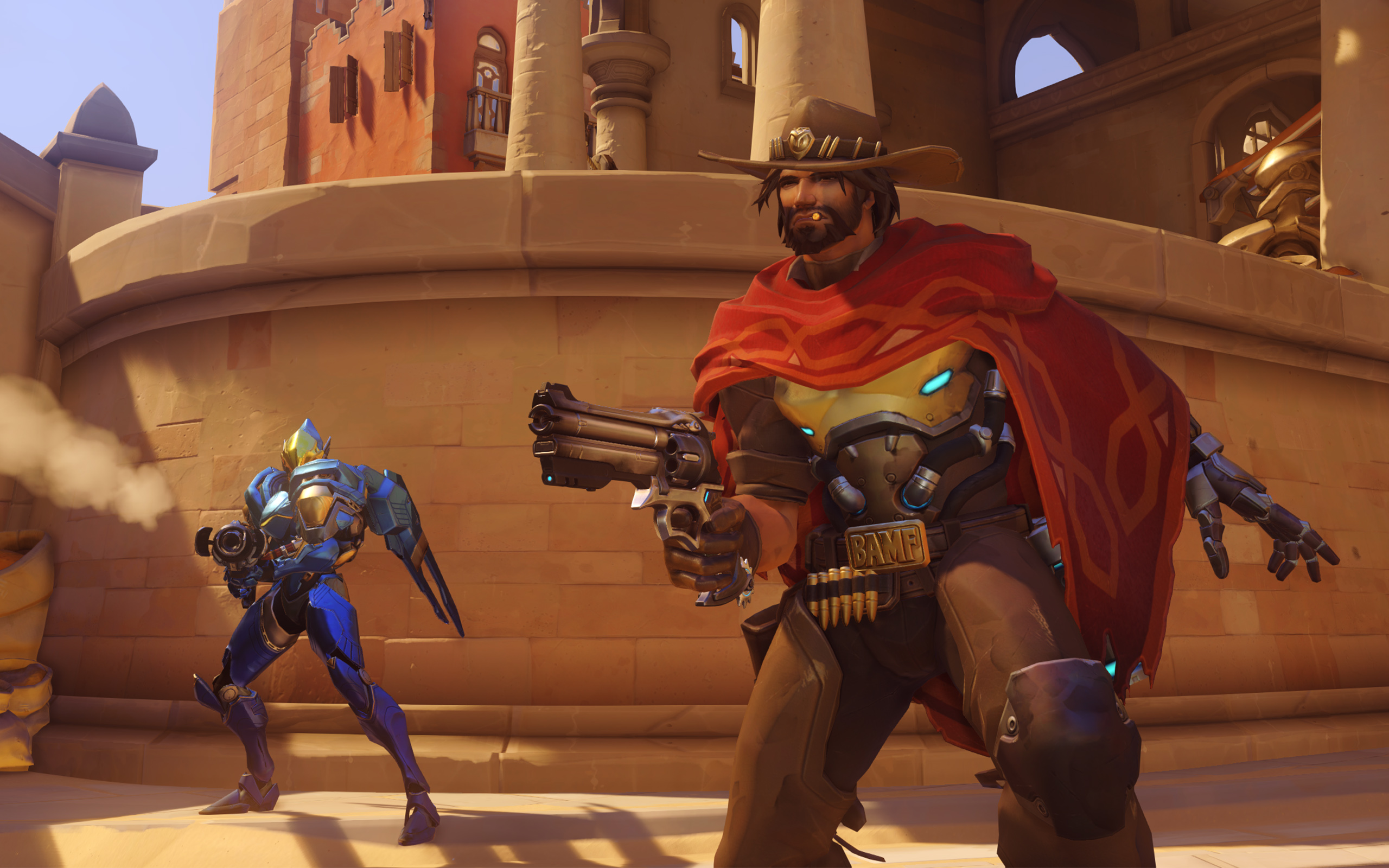 McCree aims his six-shooter with Pharah in the background in a screenshot from Overwatch
