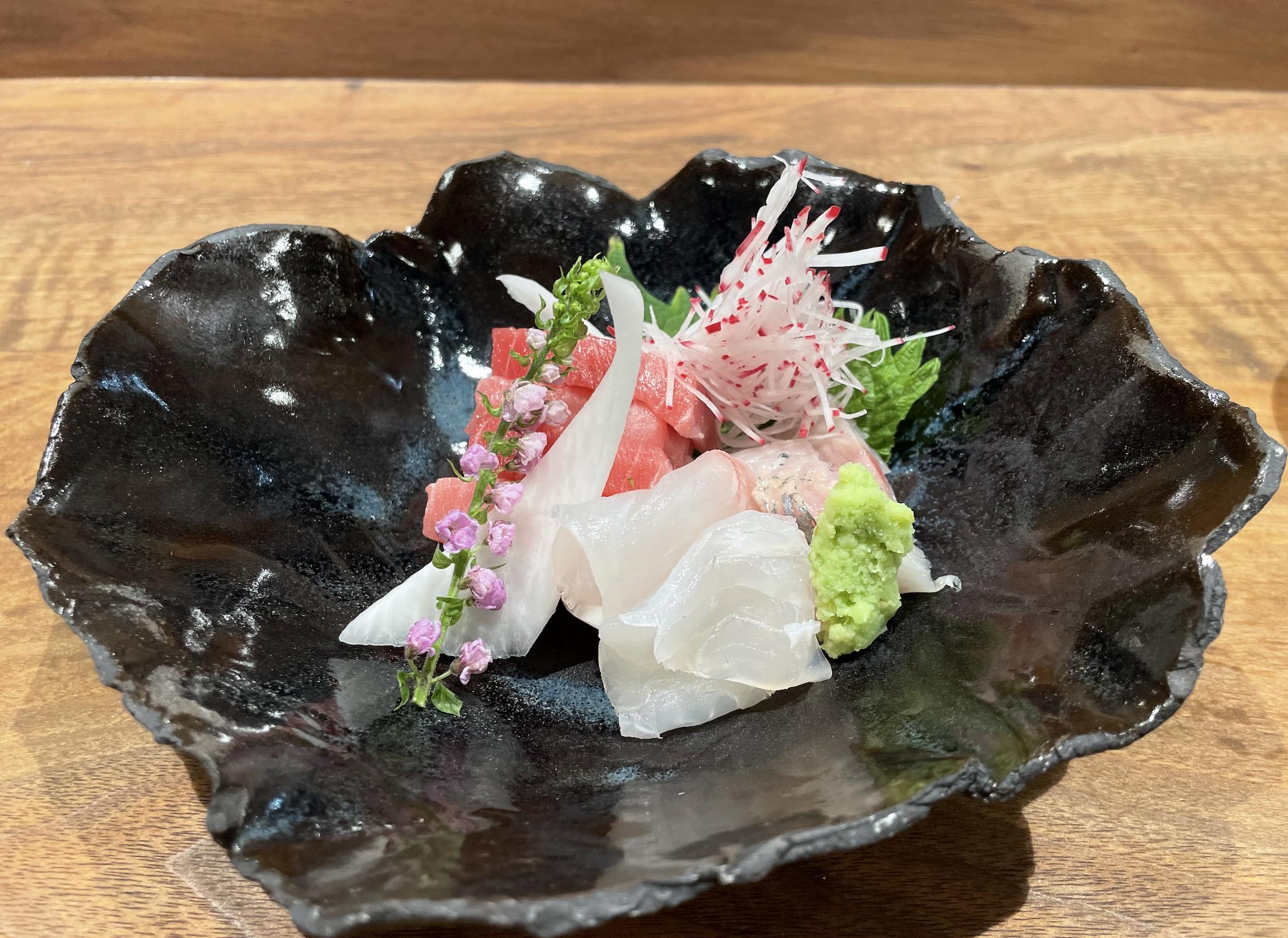 Otsukuri with toro, chidai, and aji from N/Soto.