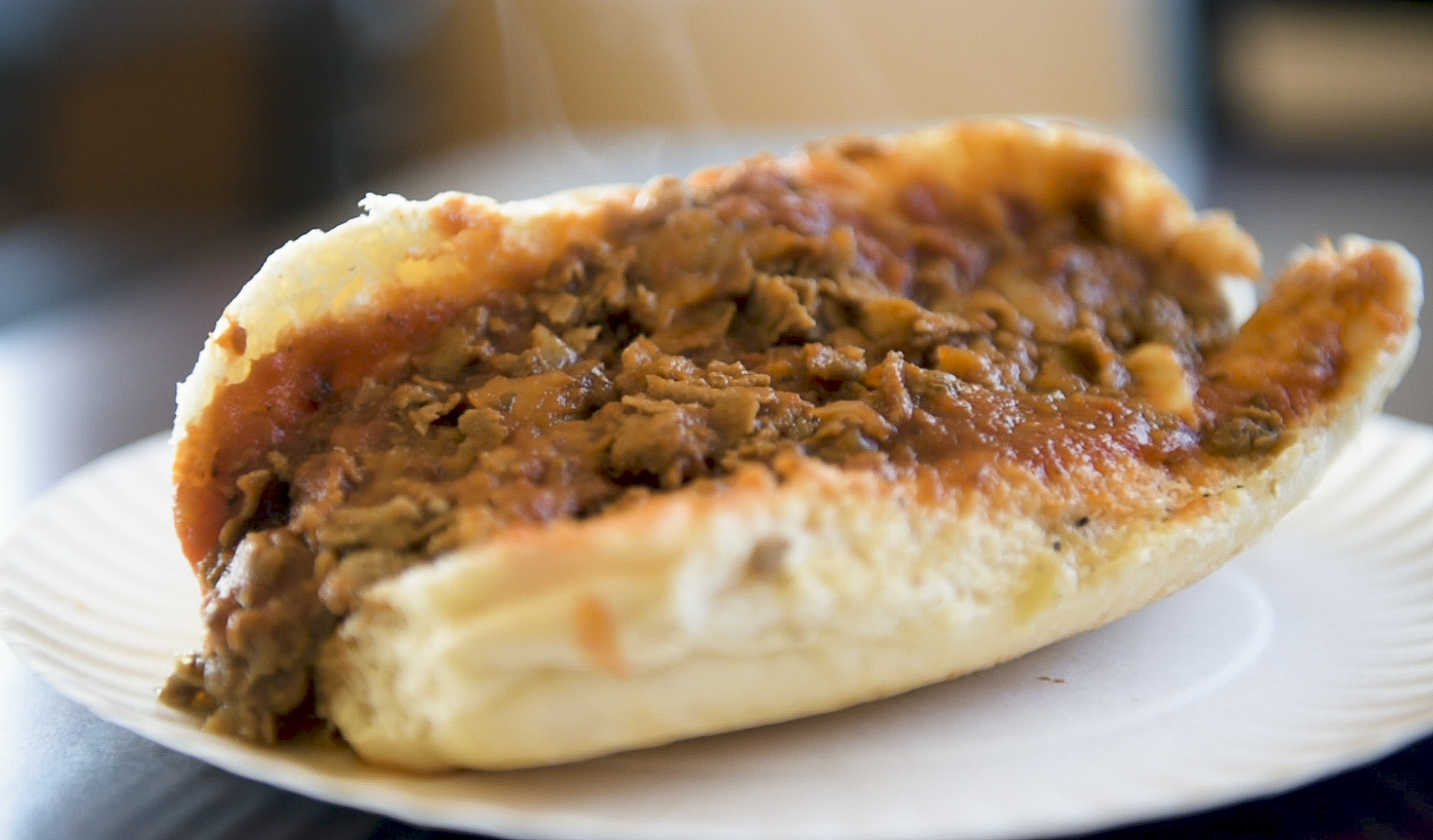 A cheese steak at V&S Sandwiches. March 12, 2019. For a story on cheesesteak day. Photo by Ben Hasty
