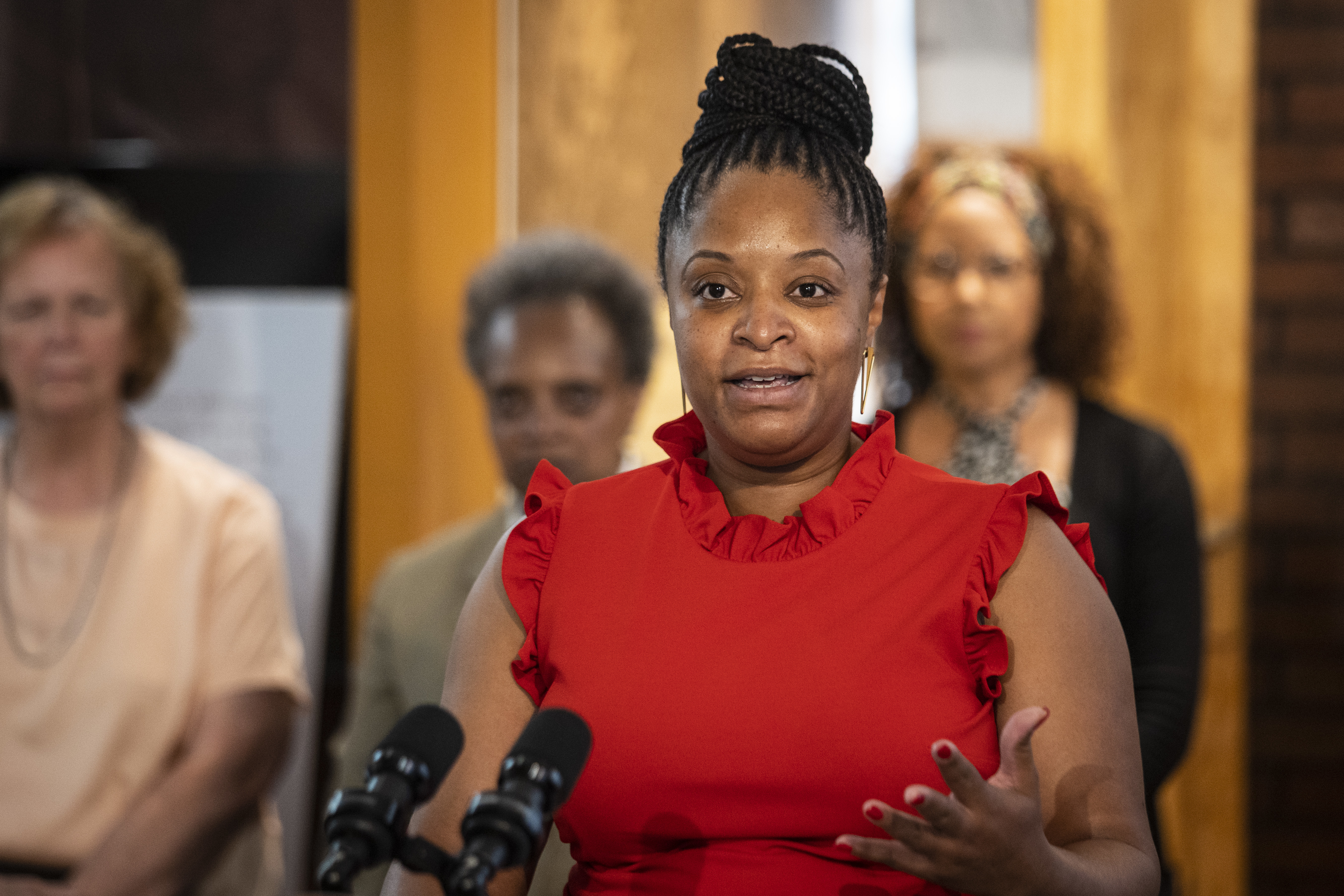 Ayesha Jaco, executive director of West Side United, speaks about racism as a public health crisis in the city of Chicago during a news conference at the MLK Exhibit Center in North Lawndale, Thursday morning, June 17, 2021.