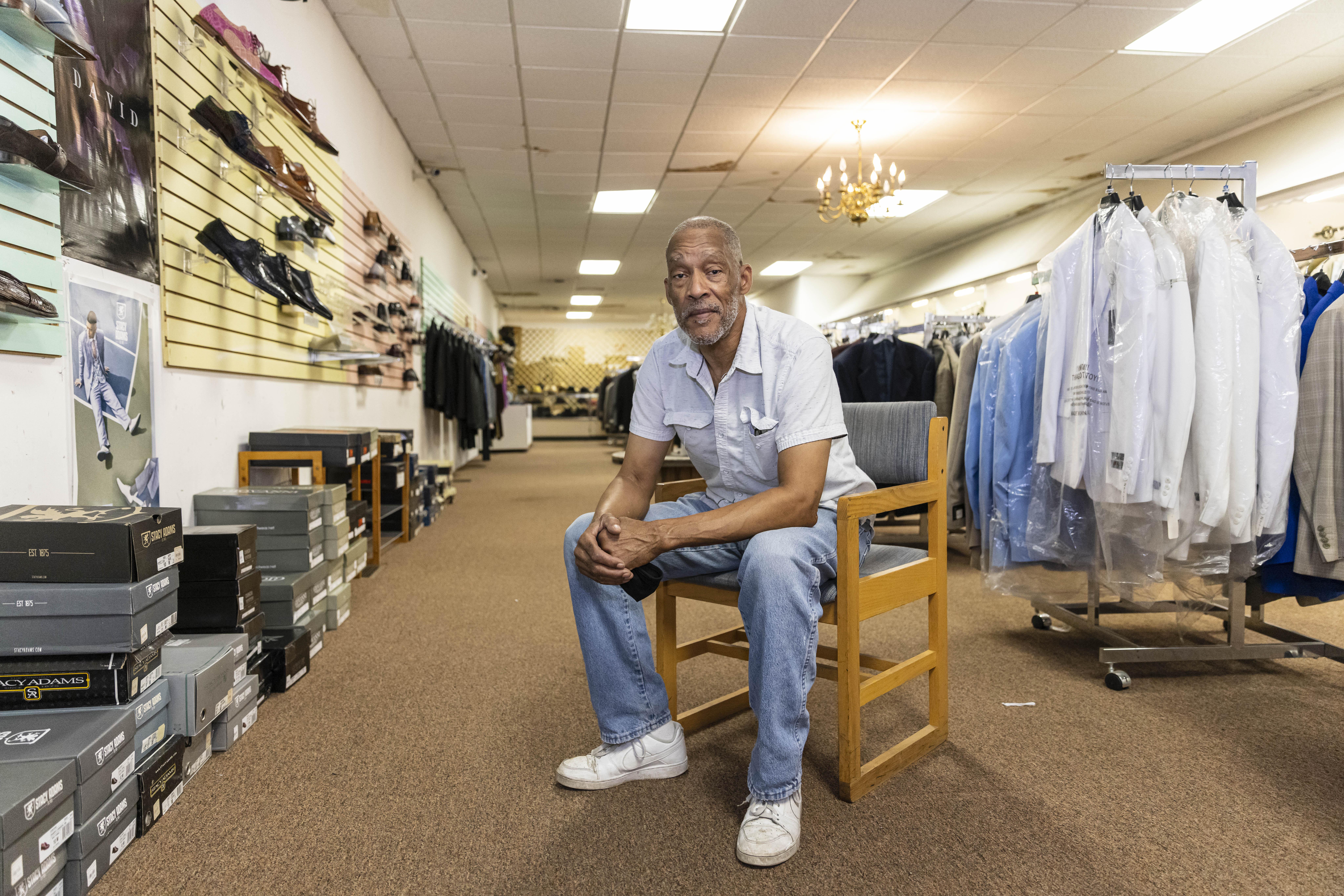 Ledall Edwards at his Edwards Fashion store, 11363 S. Michigan Ave., Roseland.