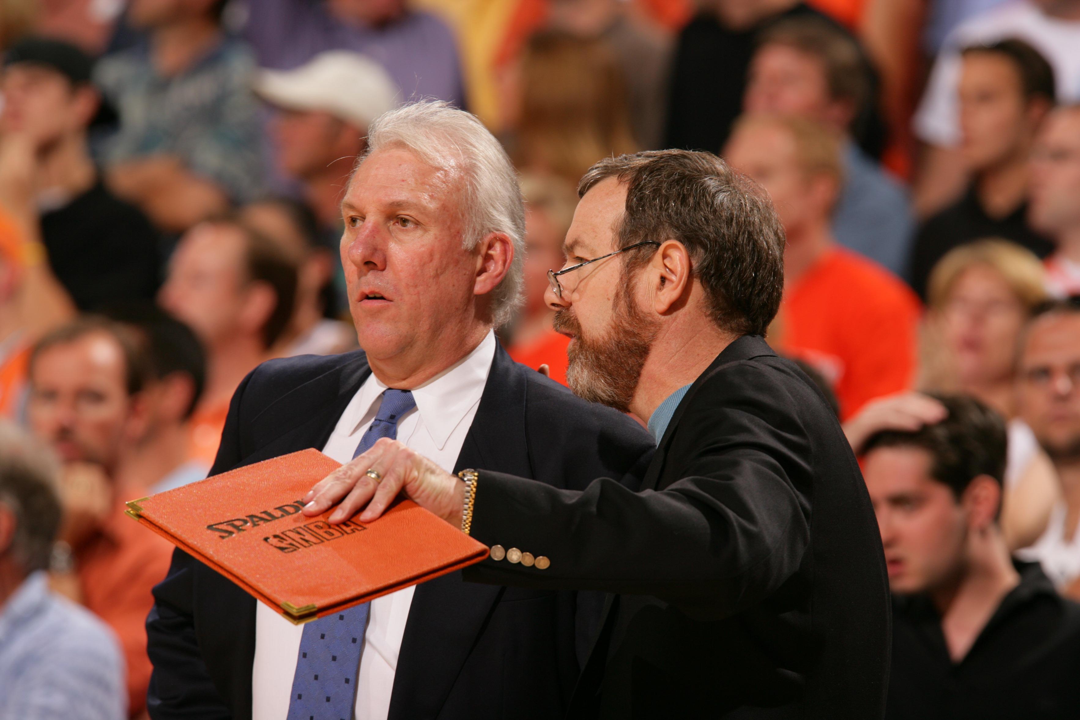 San Antonio Spurs Coach Gregg Popovich and Assistant Coach P.J. Carlesimo, 2005 NBA Playoffs