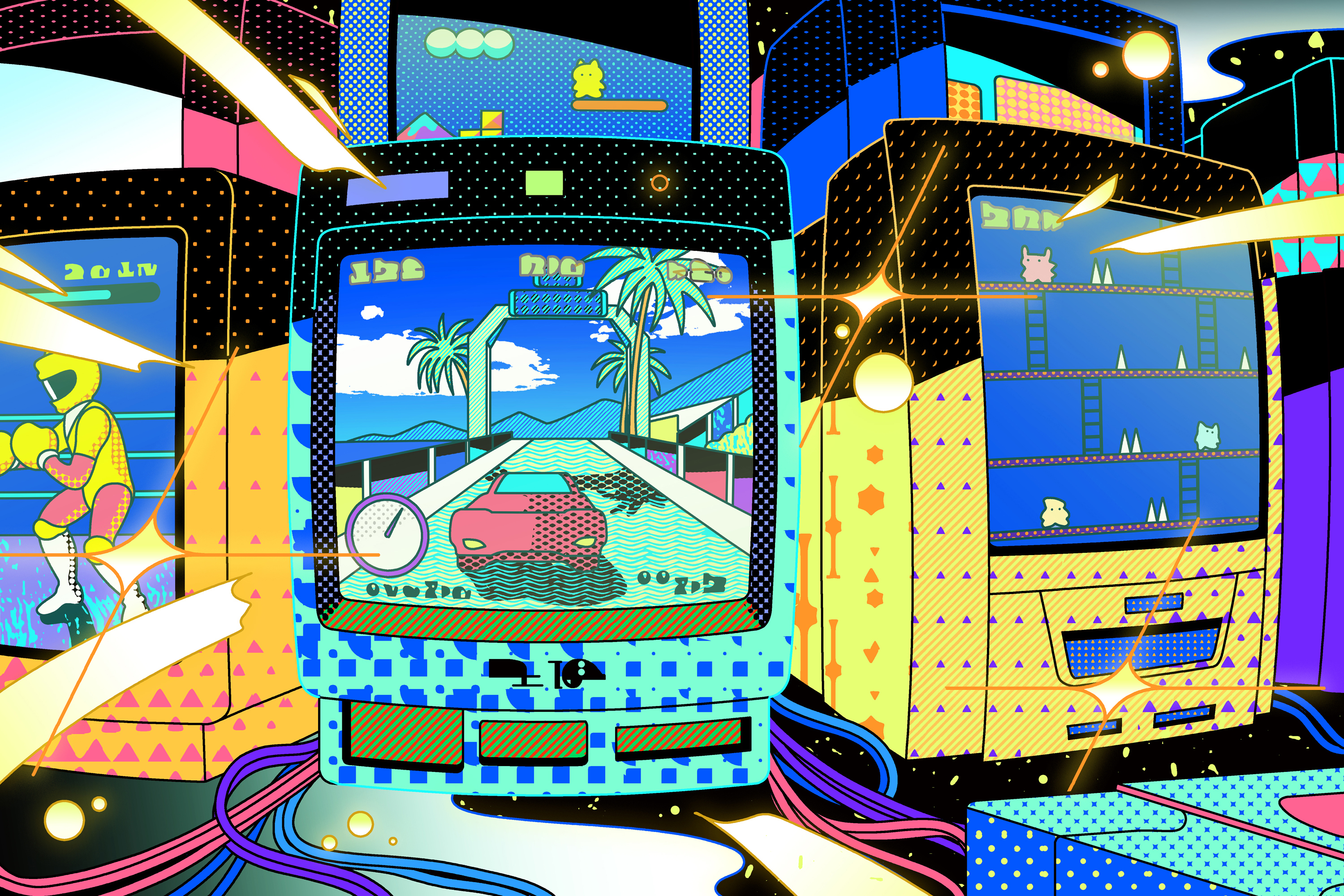 Illustration of vintage CRT game screens in various shapes and sizes and colors