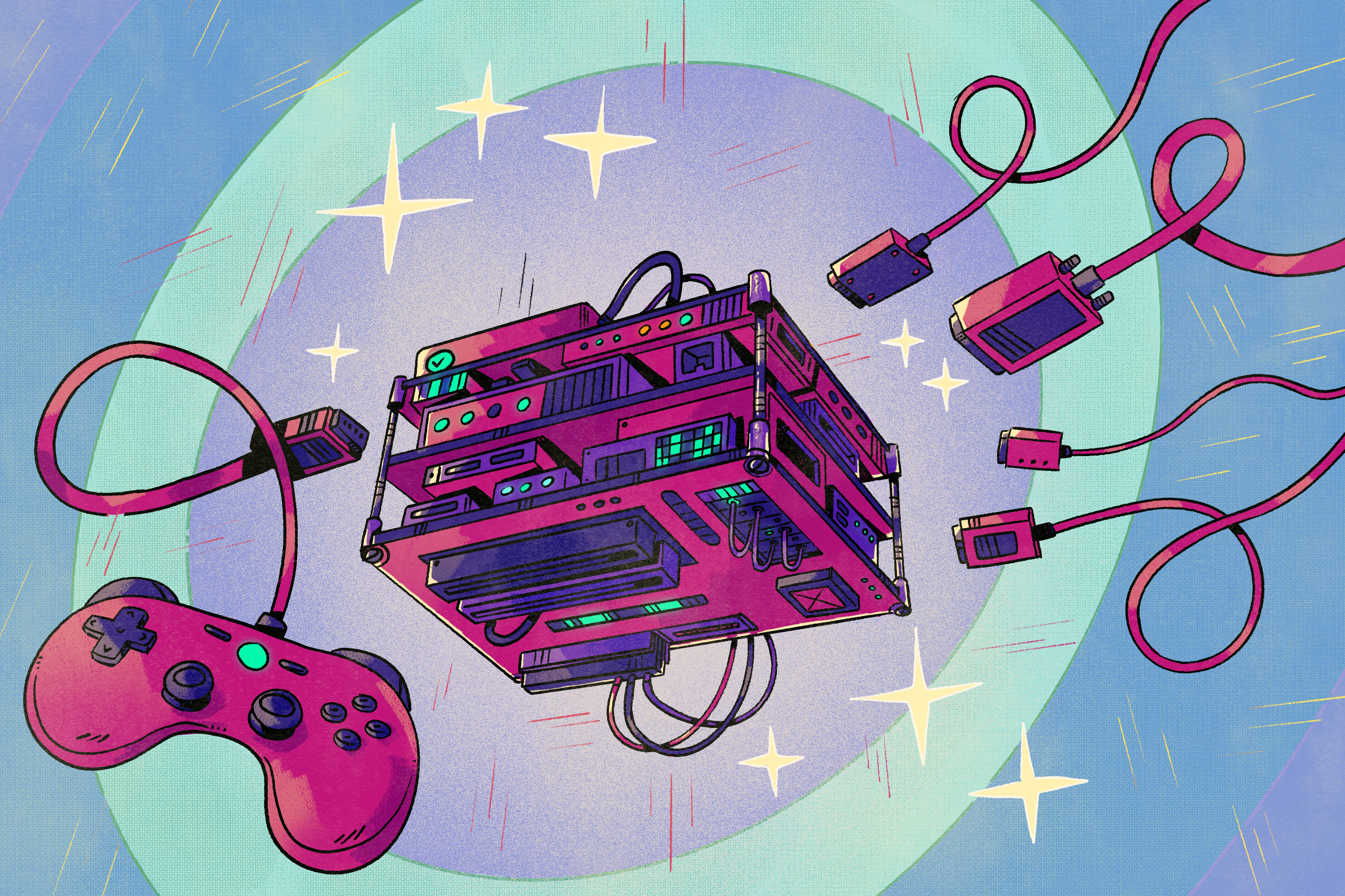 Illustration of game controller, cables and a MiSTer FPGA console