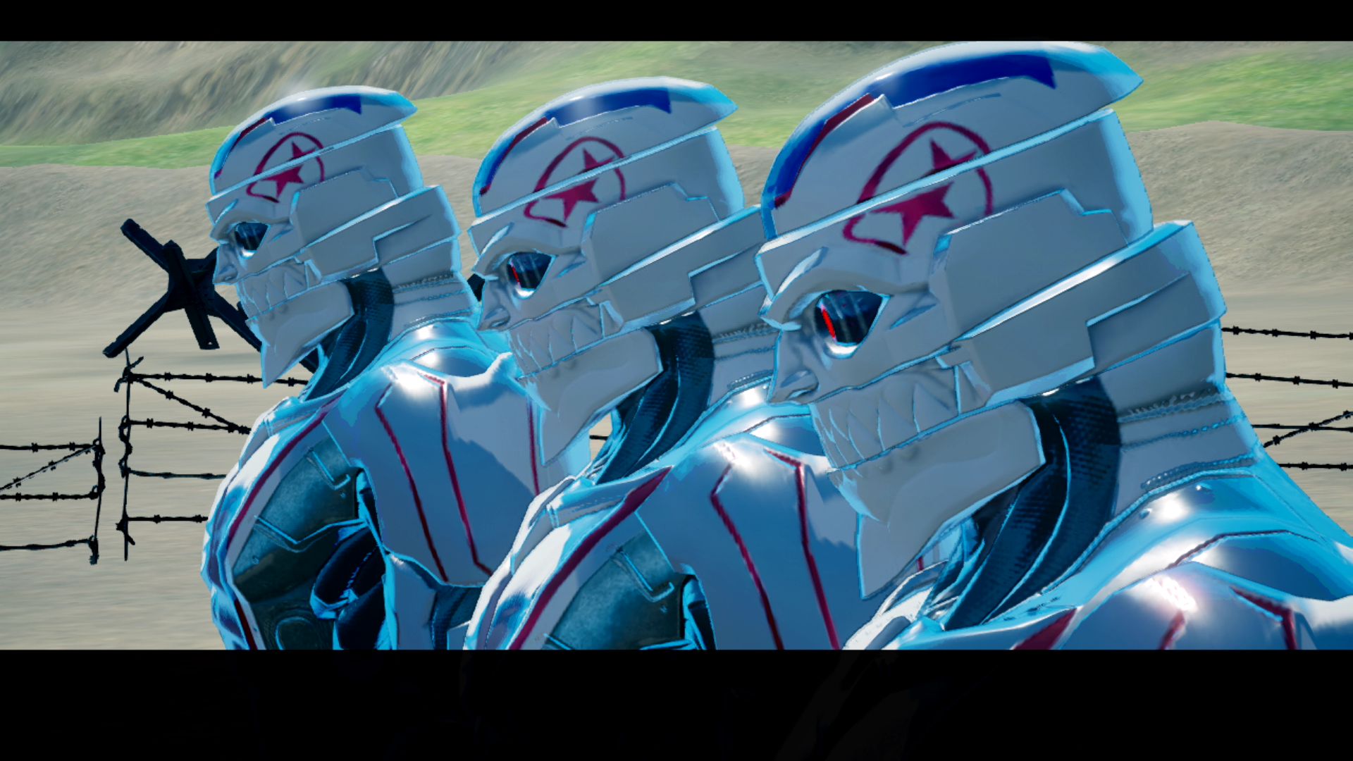 An army of Destroyman robots from No More Heroes 3
