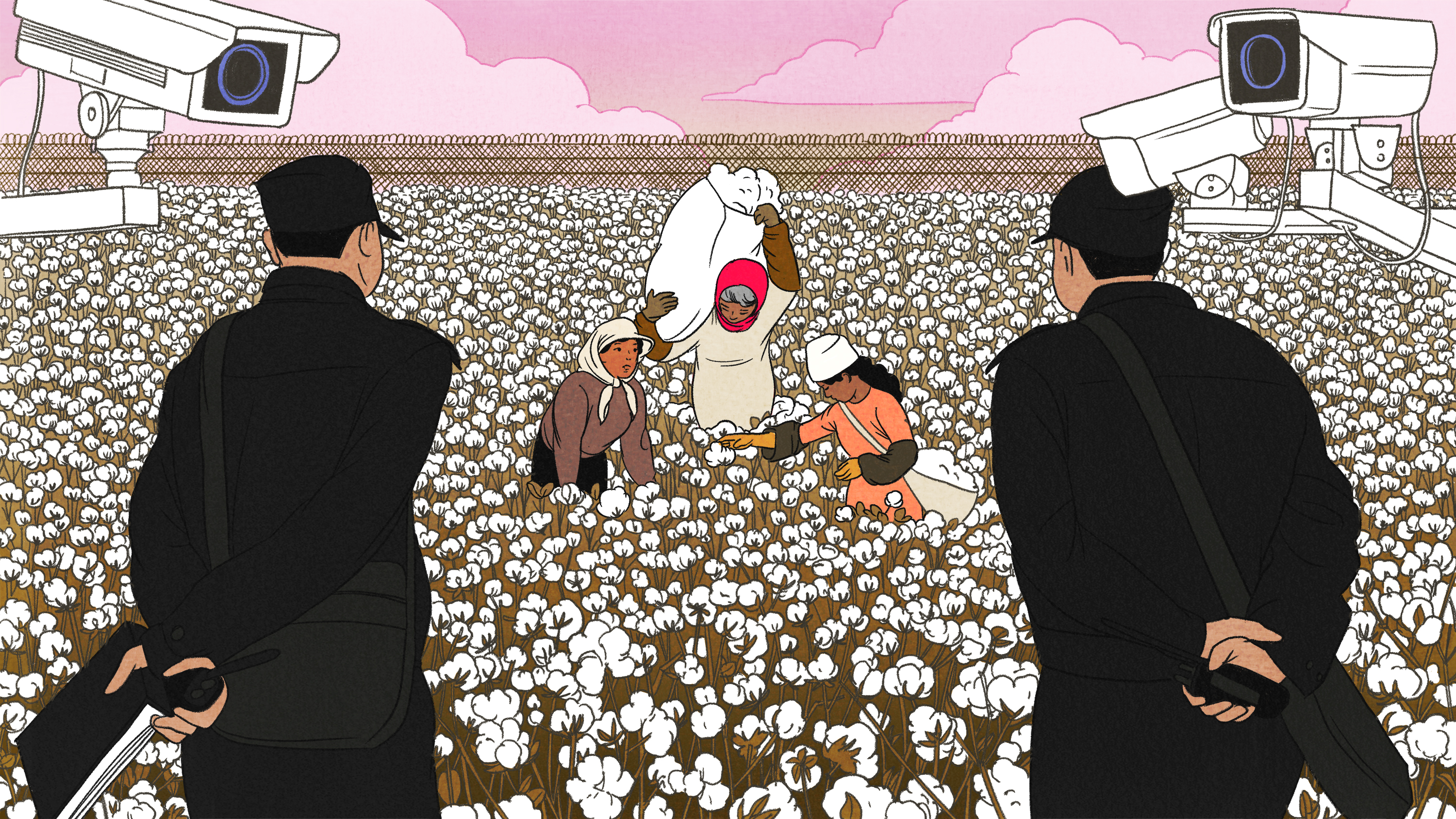 Women picking cotton surrounded by guards and CCTV cameras.